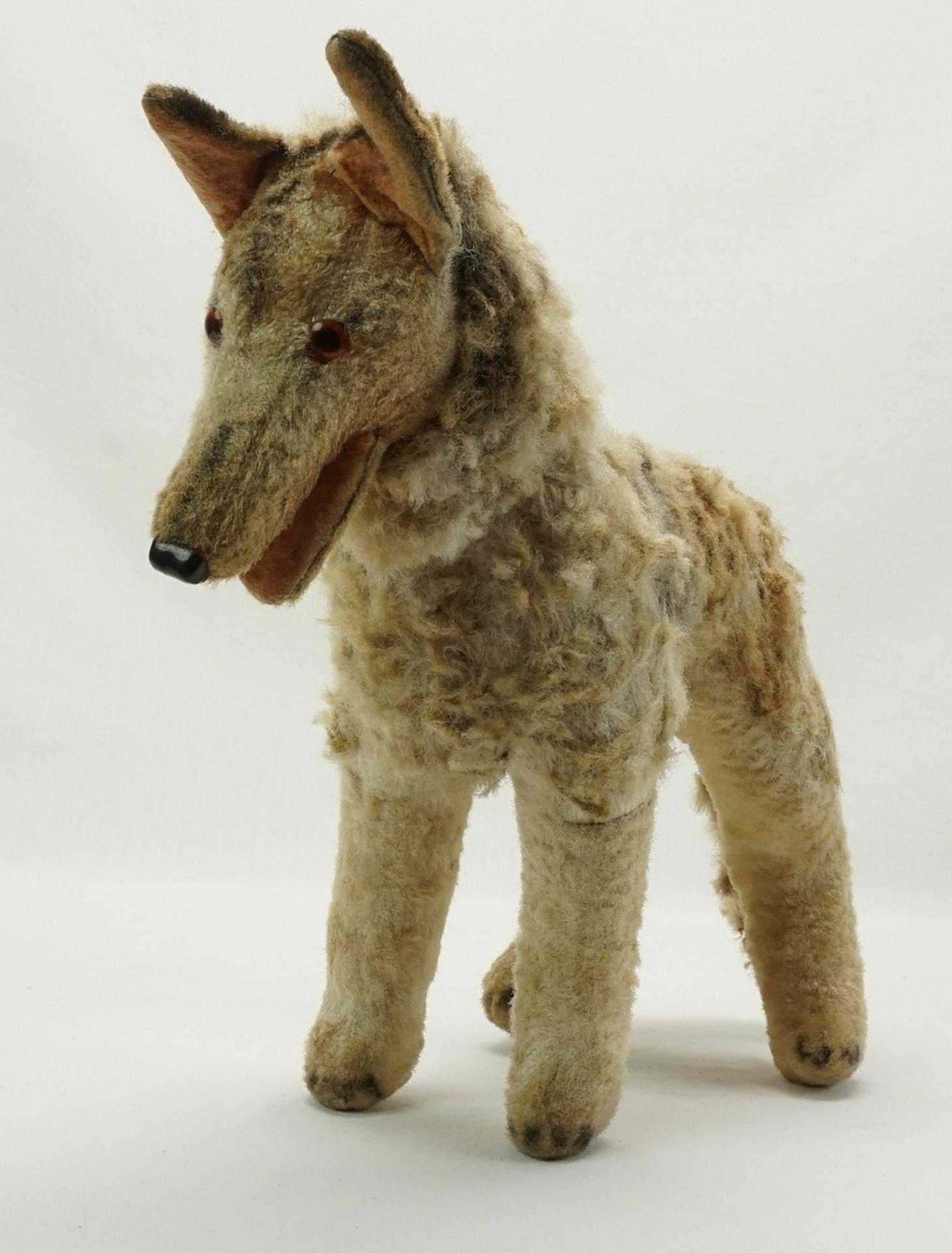 Hund mit Holzwolle Füllung, 1. Hälfte 20. Jh.