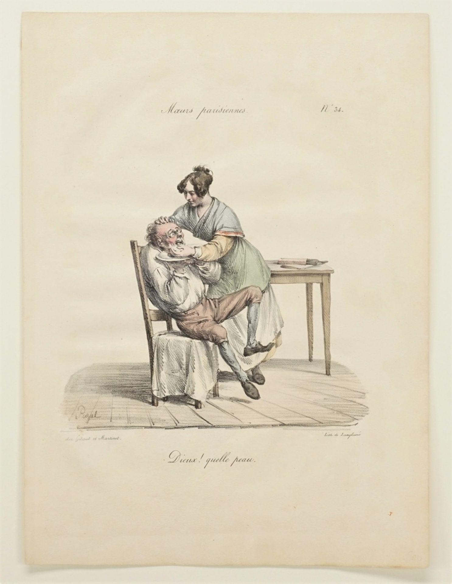 """Edme Jean Pigal, Drei Blatt aus """"Moeurs parisiennes"""" (Pariser Sitten) - Bild 3 aus 4"""
