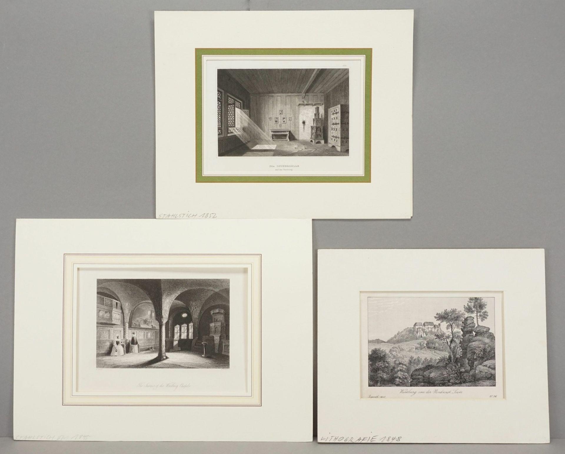 Drei Blatt zur Wartburg bei Eisenach