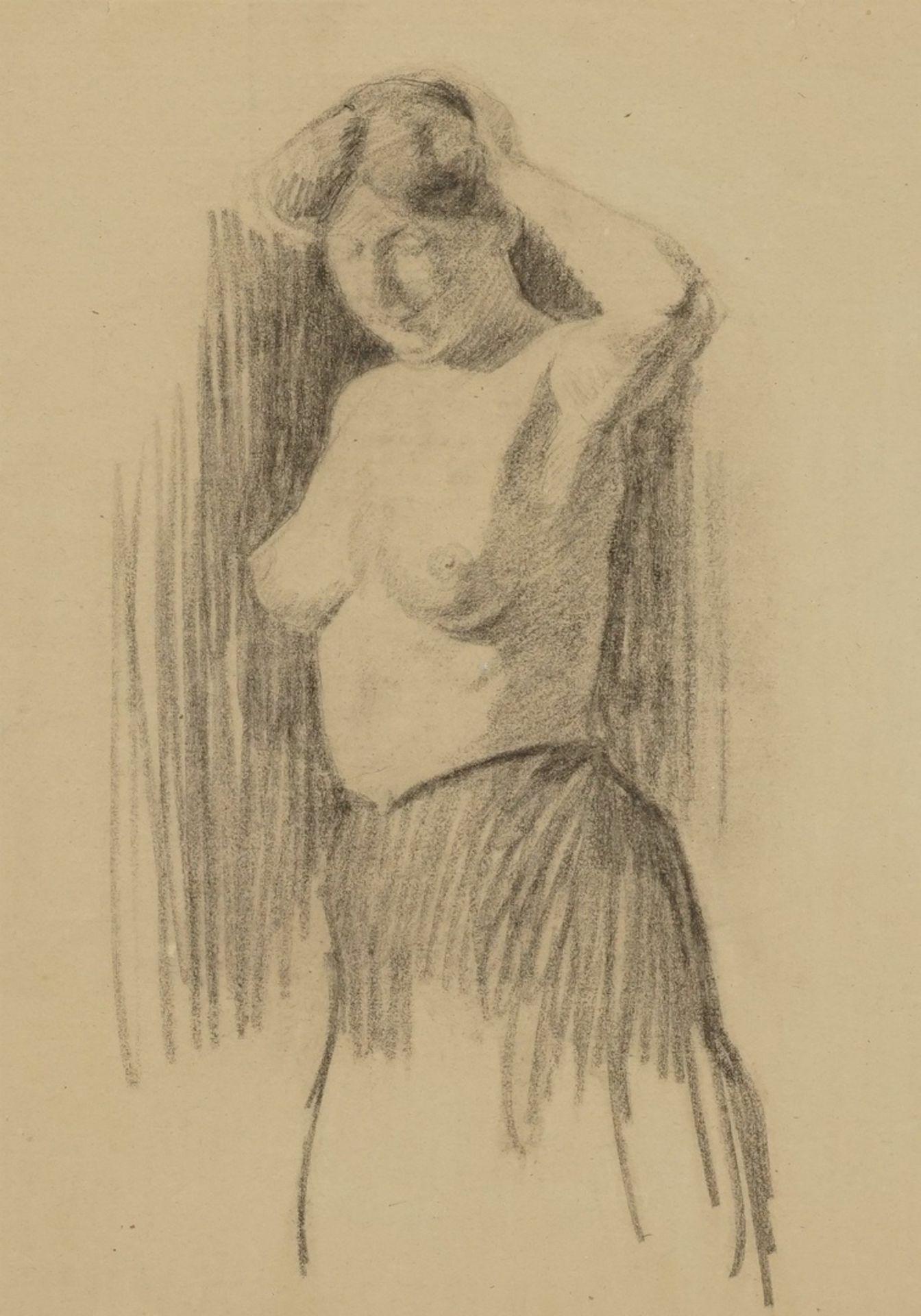 Paul Wirsing, Stehender weiblicher Halbakt, die linke Hand am Haar