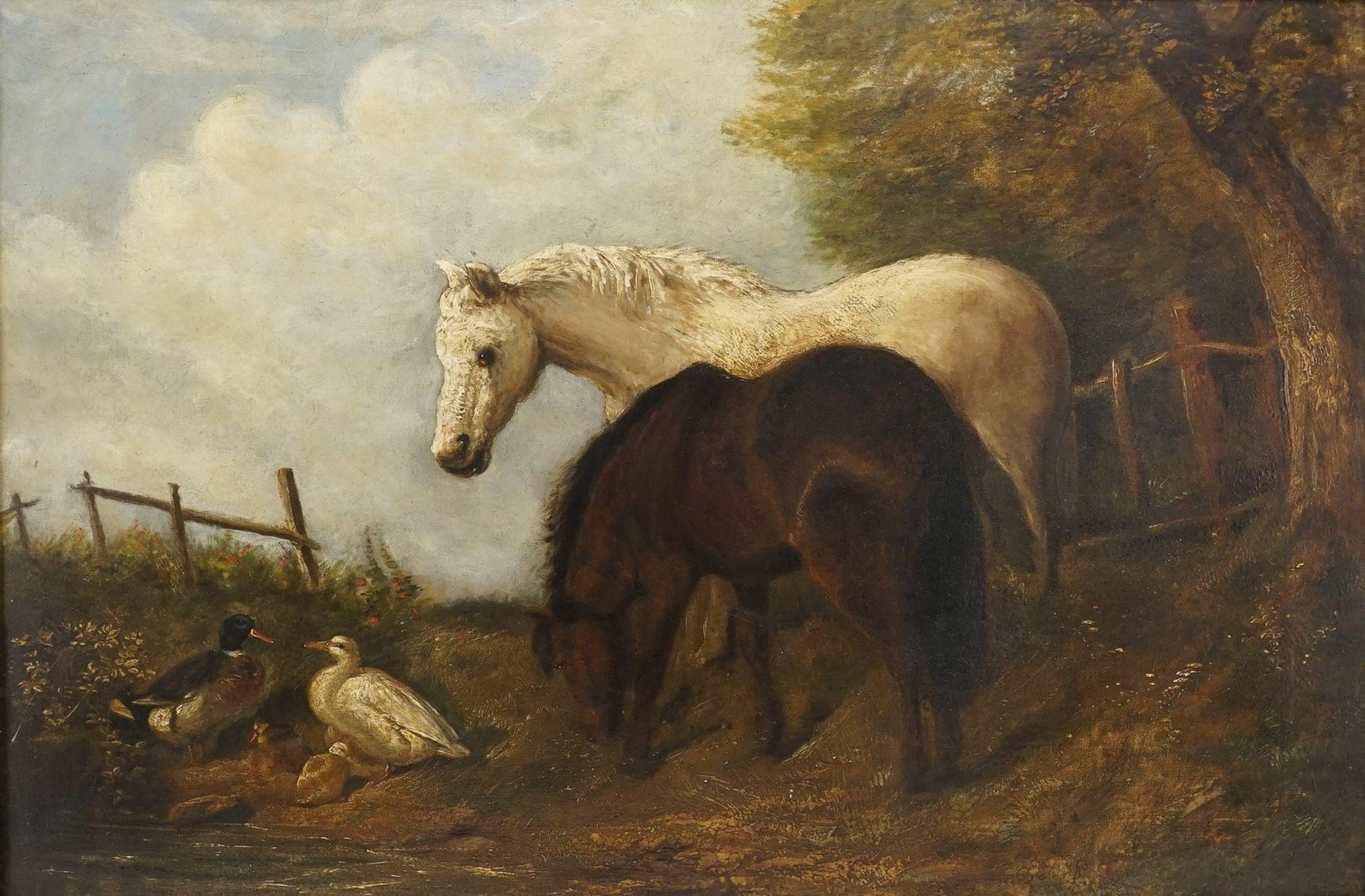 """Englische Schule, """"Zwei Pferde und zwei Enten"""""""