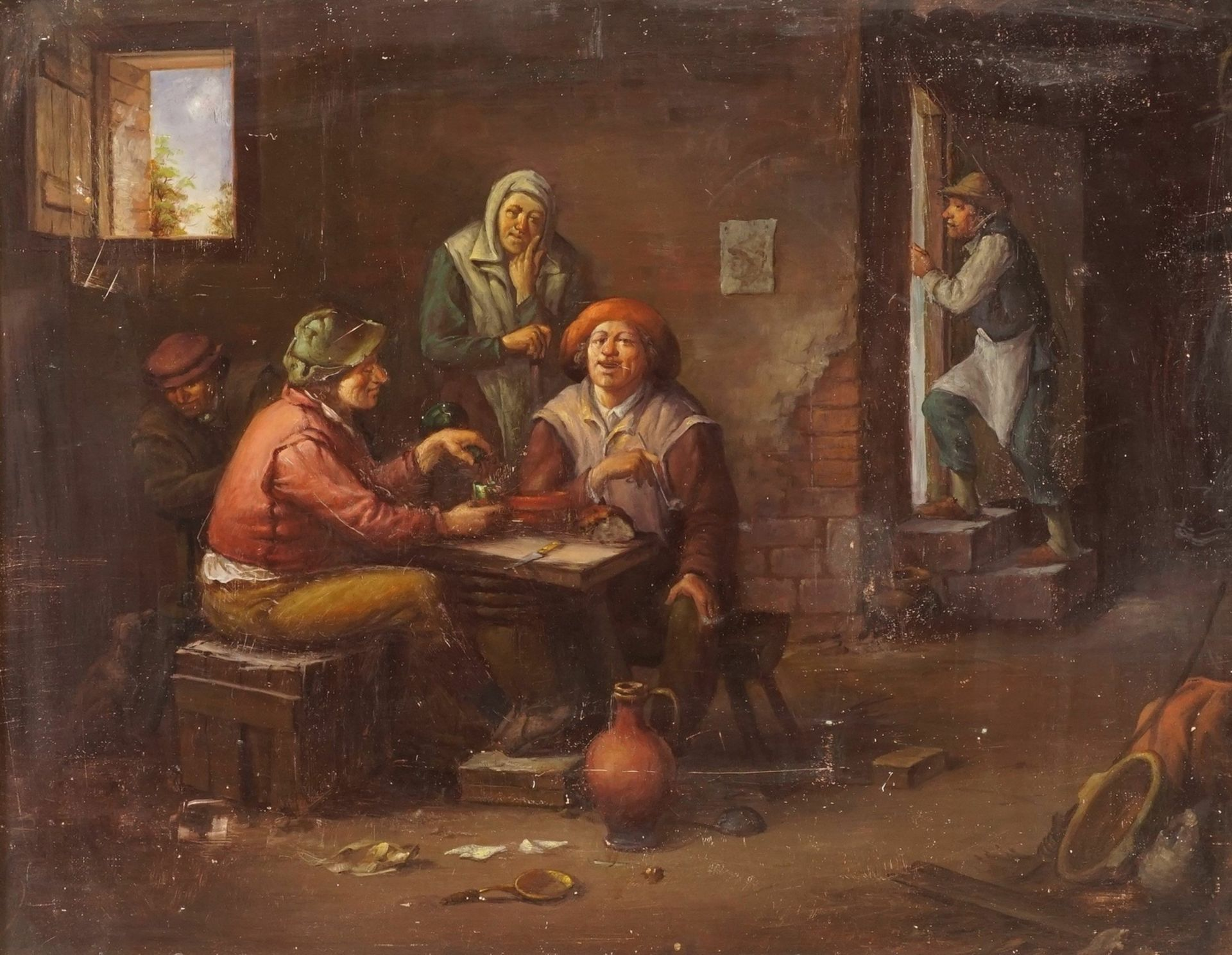 Motivisch nach David Teniers der Jüngere, Wirthausrunde - Bild 2 aus 3