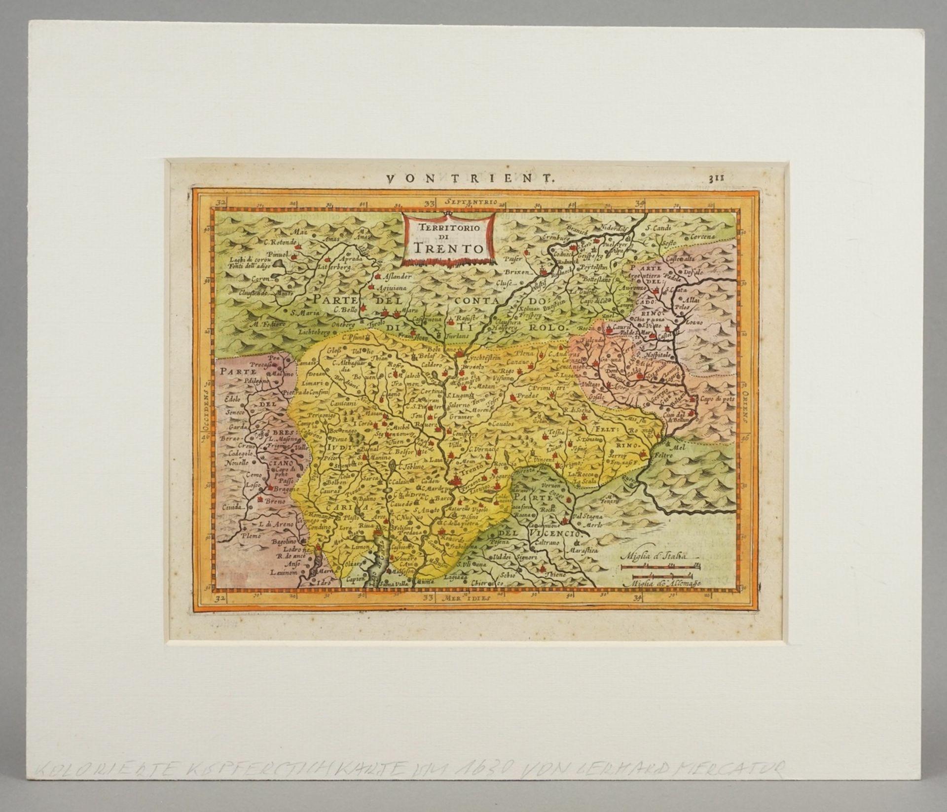 """Gerhard Mercator, """"Von Trient / Territorio di Trento"""" (Landkarte der Gegend um Trient, Südtirol) - Bild 2 aus 4"""