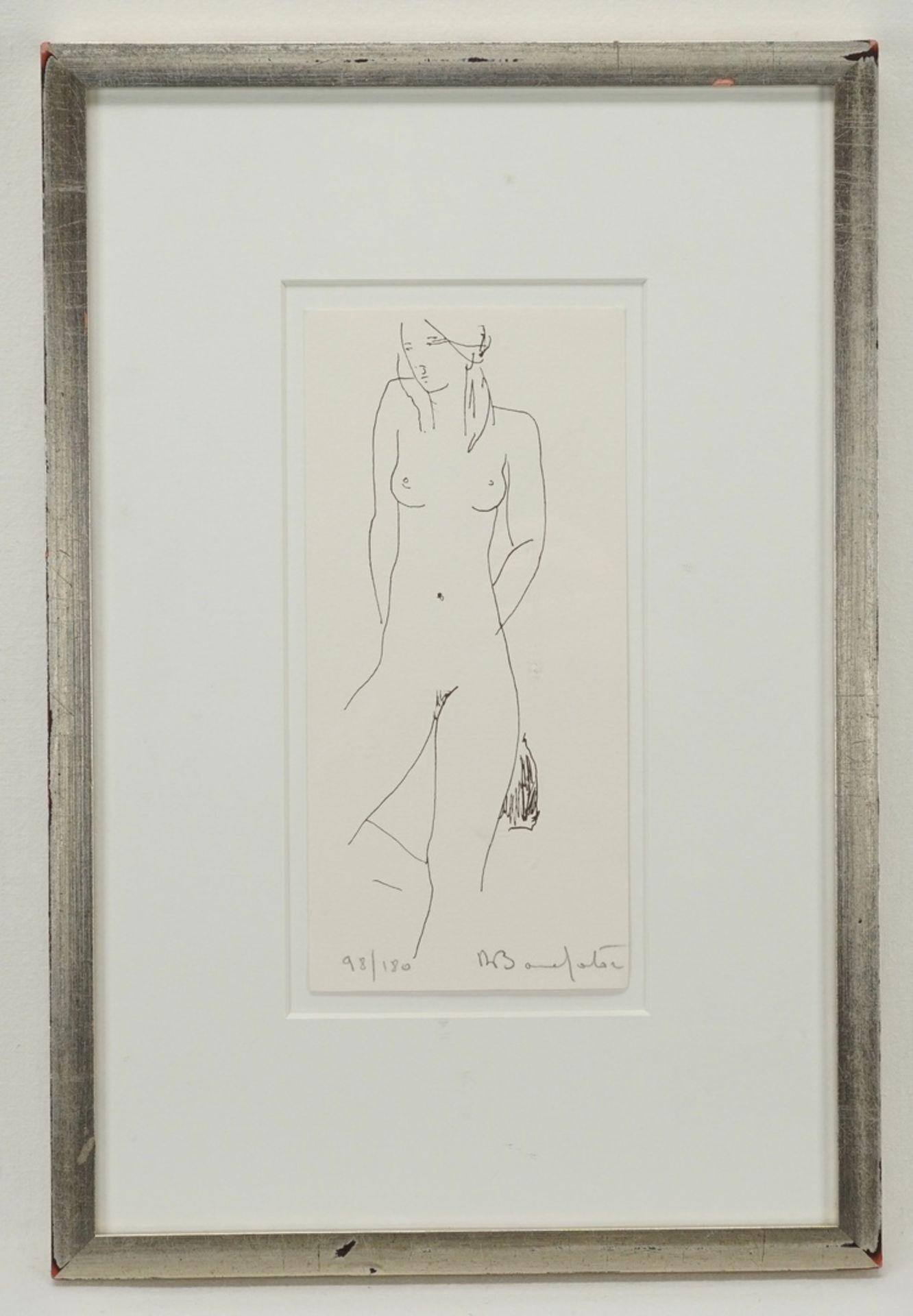 Alain Bonnefoit, Stehender Akt mit Tuch hinter dem Rücken - Bild 2 aus 3