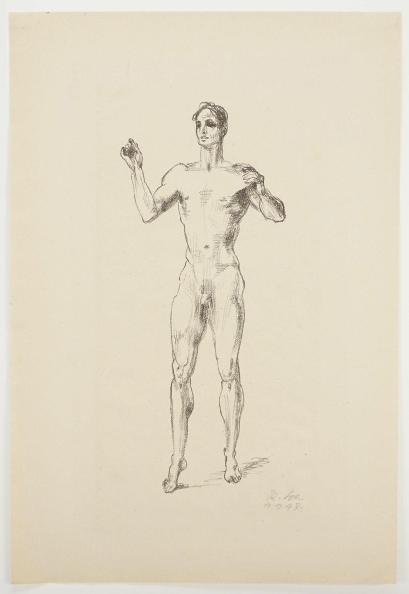 Richard Scheibe, Stehender männlicher Akt mit erhobenen Armen - Bild 3 aus 4