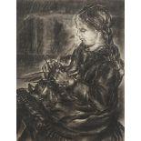 Unbekannter Zeichner, Strickendes Mädchen