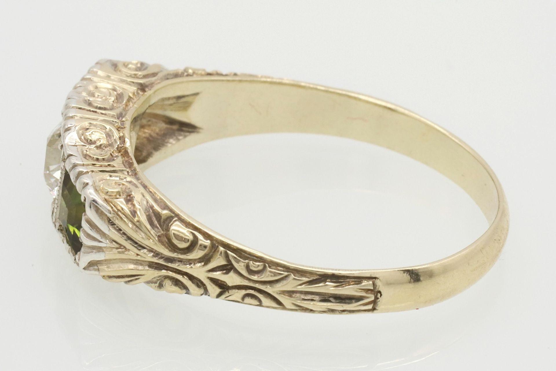 Ring mit Diamant und Peridot besetzt - Bild 5 aus 5