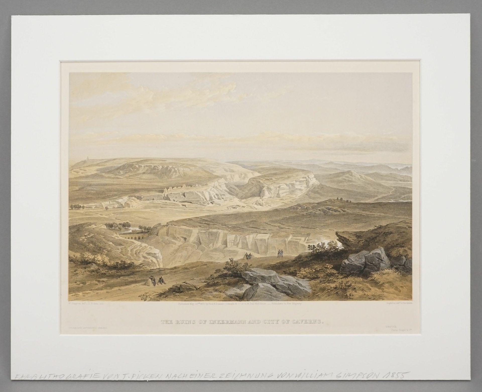 """William Simpson, """"The Ruins of Inkermann and City of Caverns"""" (Die Ruinen der Stadt Inkerman ... - Bild 2 aus 3"""