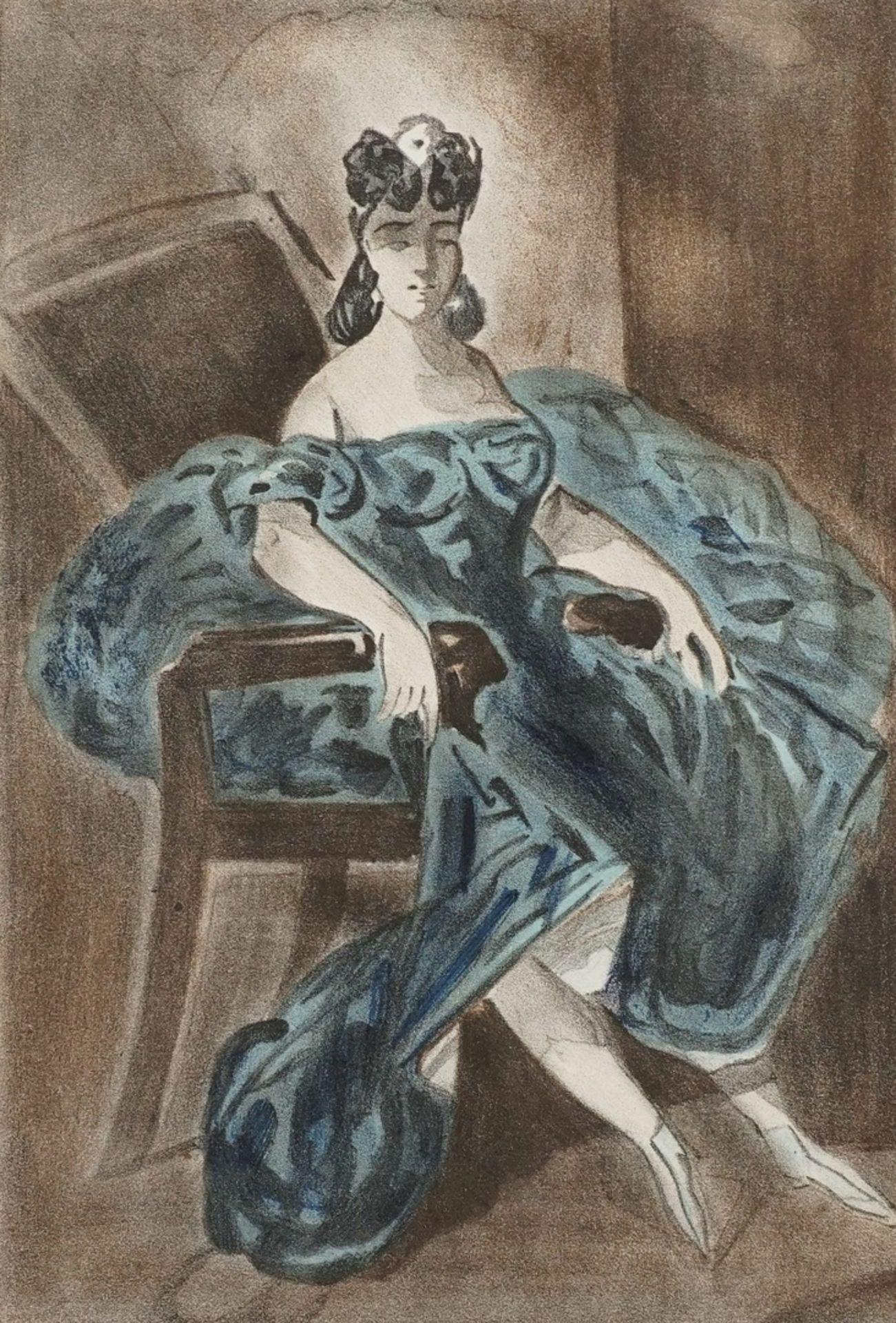 Constantin Guys, Sitzende Dame in türkisblauem Kleid