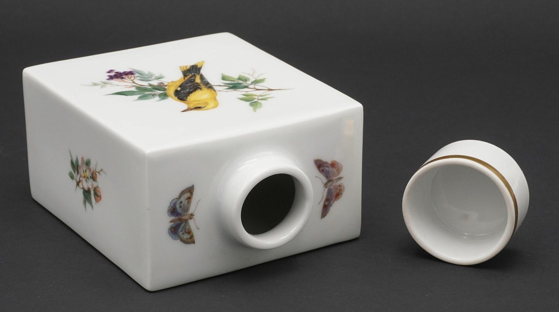 Meissen Teedose mit Vogelmalerei - Bild 3 aus 4