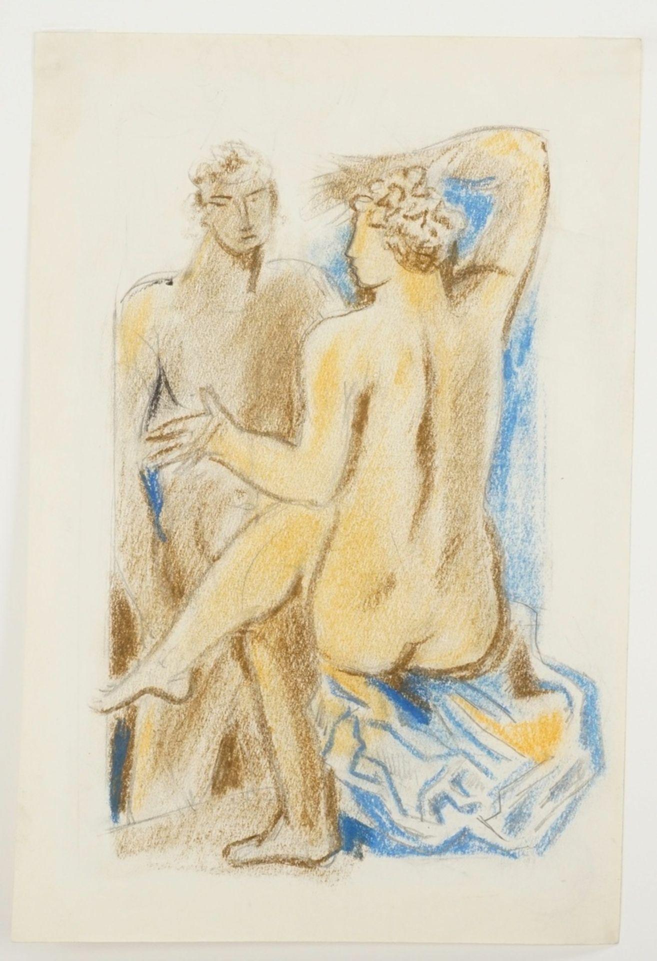 Richard Schwarzkopf, Paar mit blauem Tuch - Bild 3 aus 4