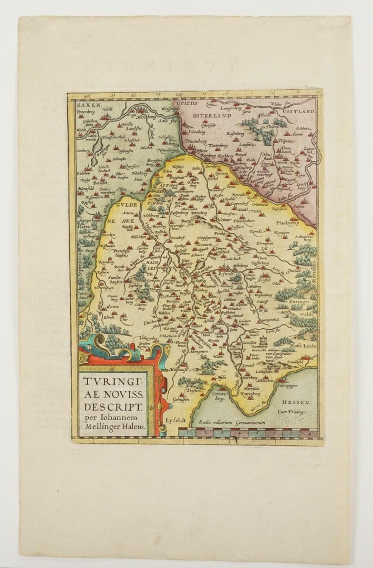 "Johannes Mellinger, ""Turingiae noviss. descript."" Landkarte Thüringen - Bild 3 aus 4"
