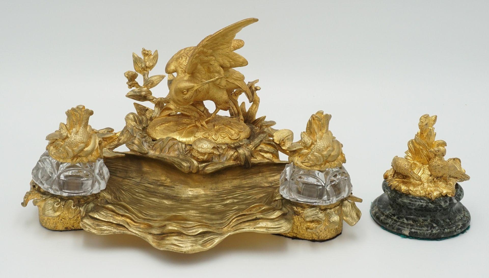 Üppiges Schreibtischset mit Wasservogel und Fischen