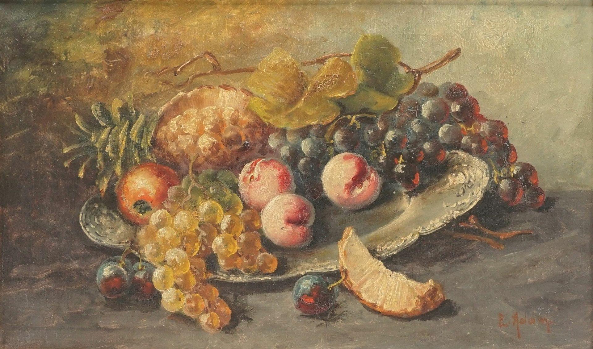 """Emmy Adam, """"Früchtestillleben mit Trauben, Pfirsichen und Ananas"""" - Bild 2 aus 4"""