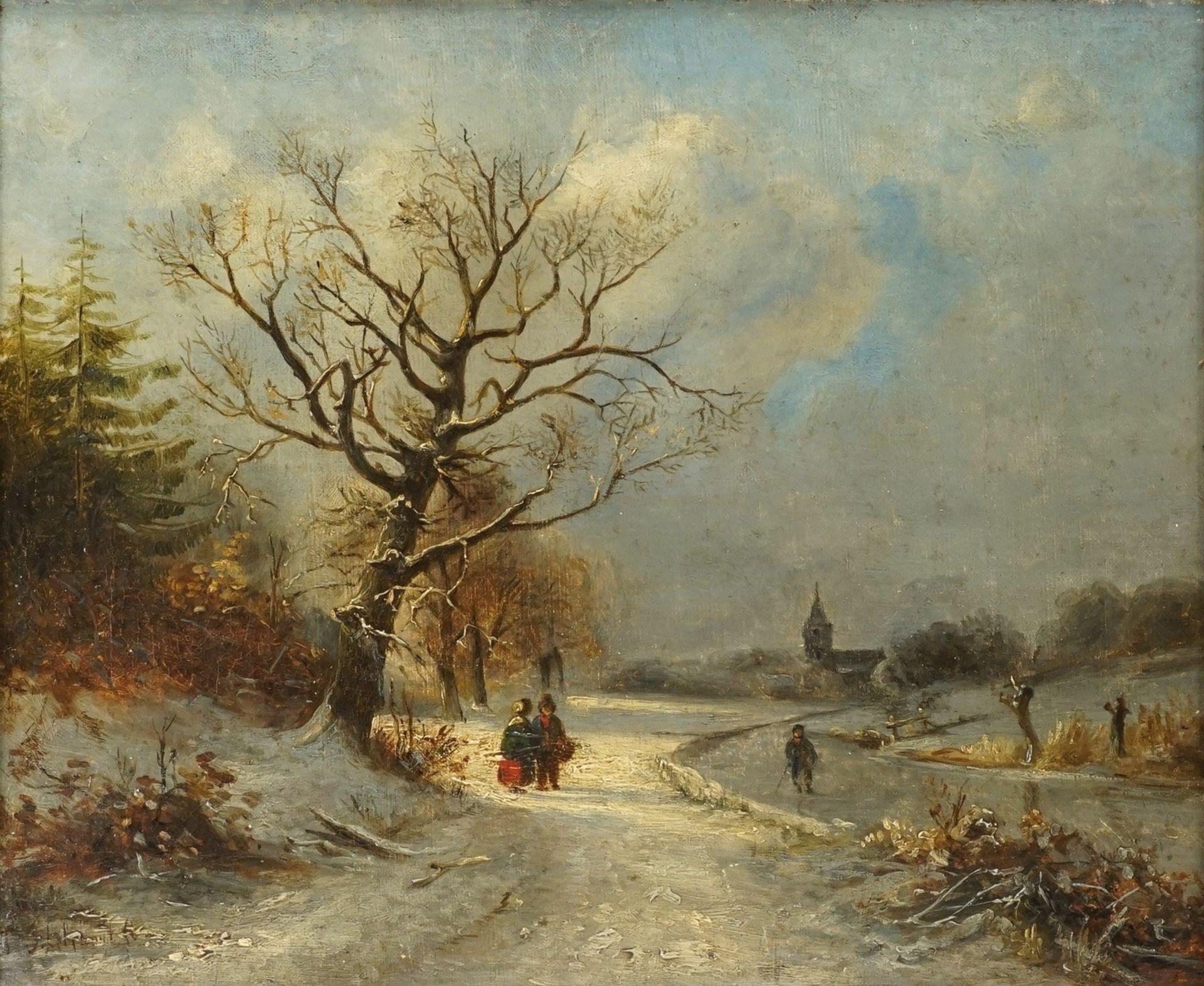 Andreas Schelfhout, Winterlandschaft mit Grachtenläufer