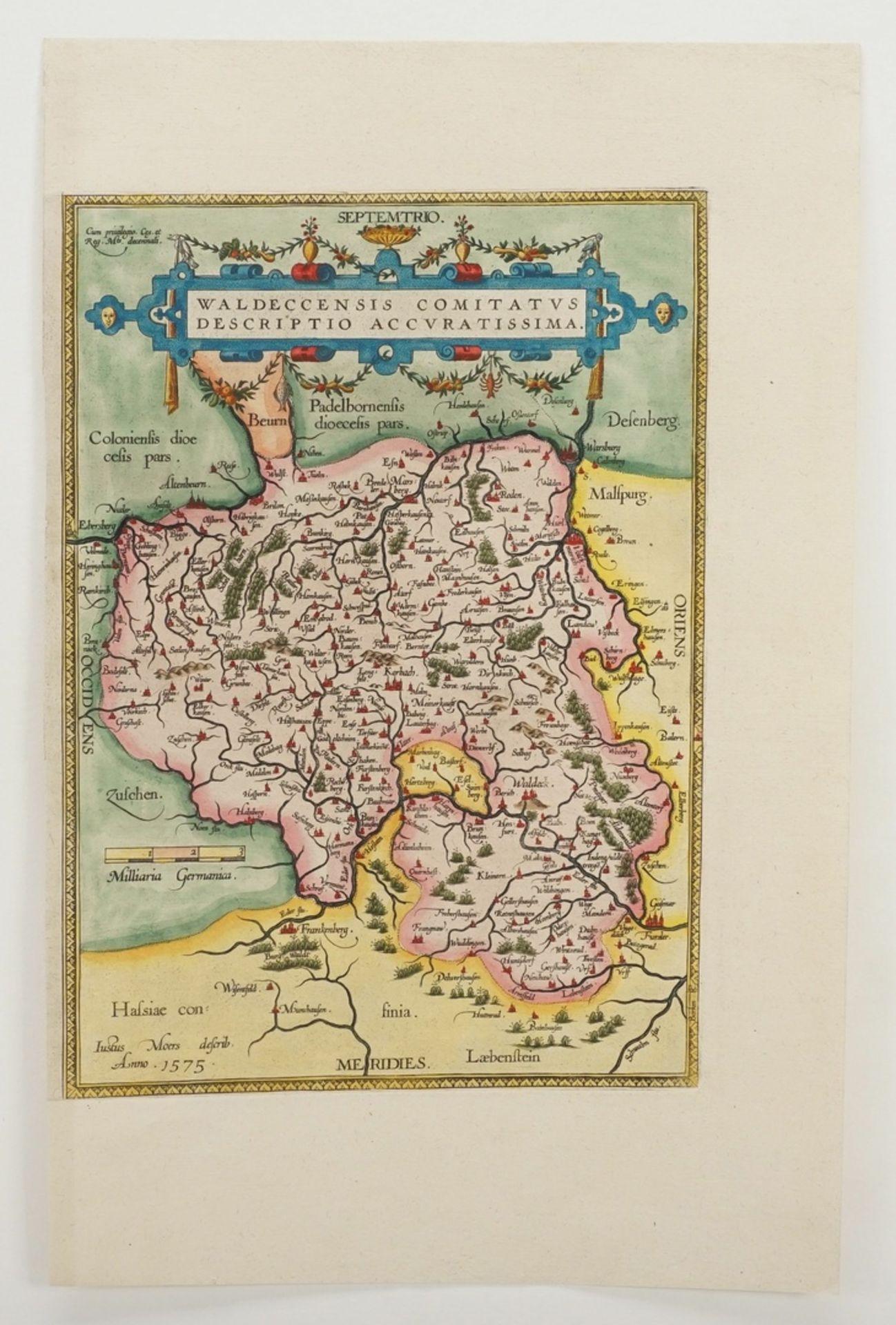 """Abraham Ortelius, """"Waldeccensis Comitatus Descriptio Accuratissima"""" (Landkarte des Fürstentums ... - Bild 3 aus 3"""