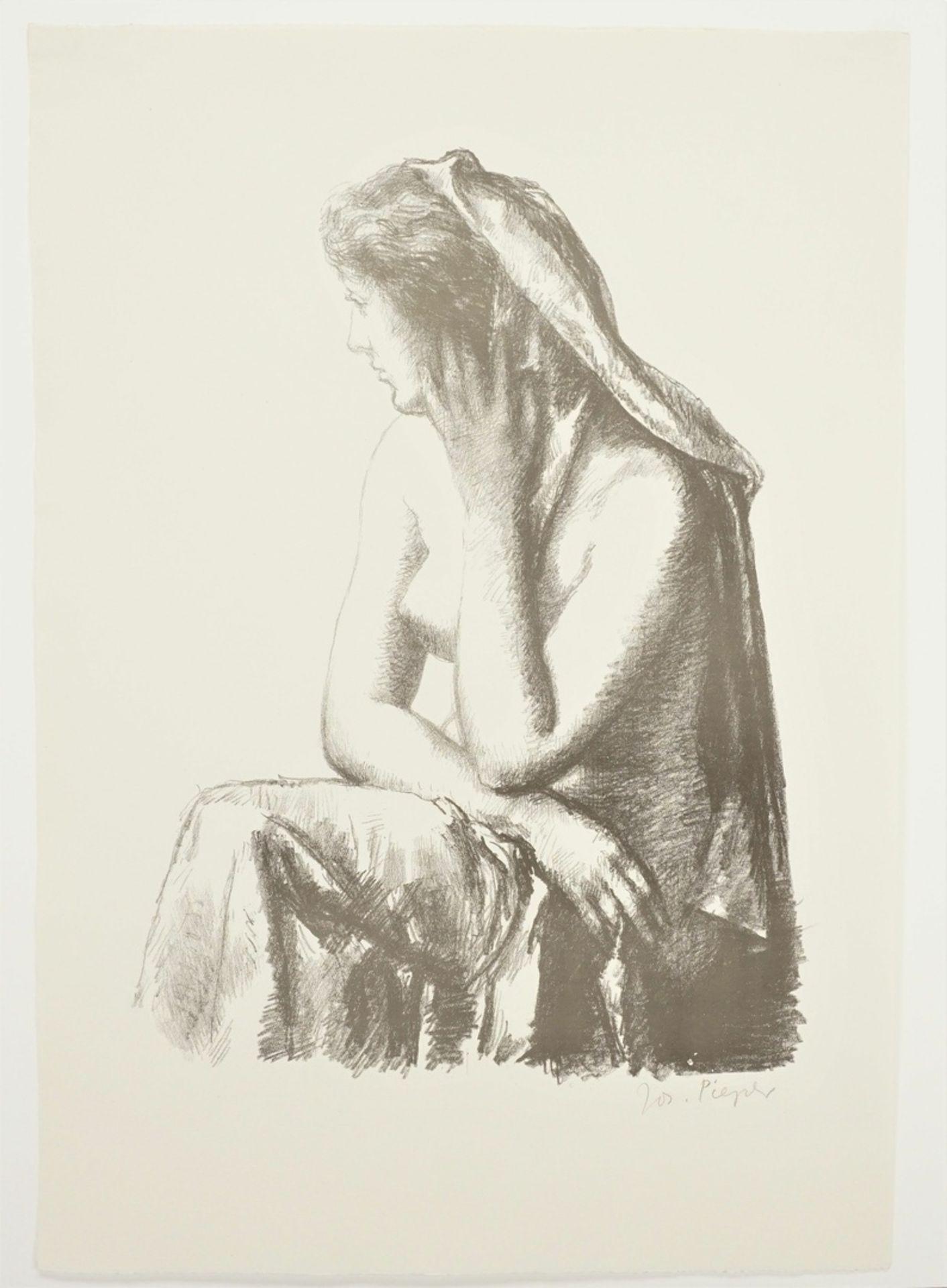 Josef Pieper, Sitzender weiblicher Halbakt mit Tuch - Bild 3 aus 4
