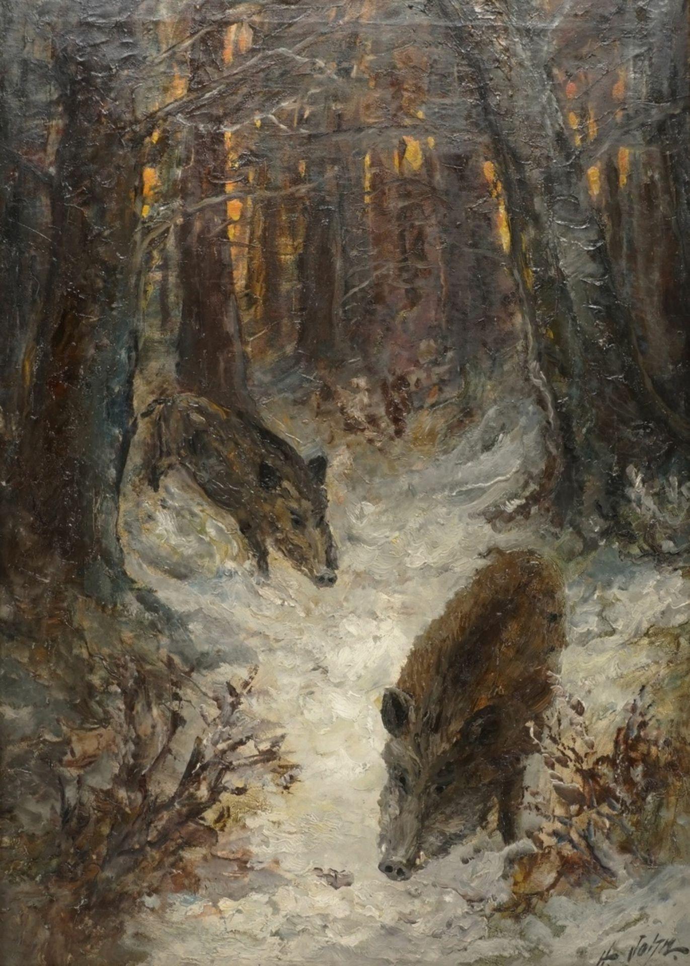 """Hugo John, """"Wildschweine im Schnee"""""""