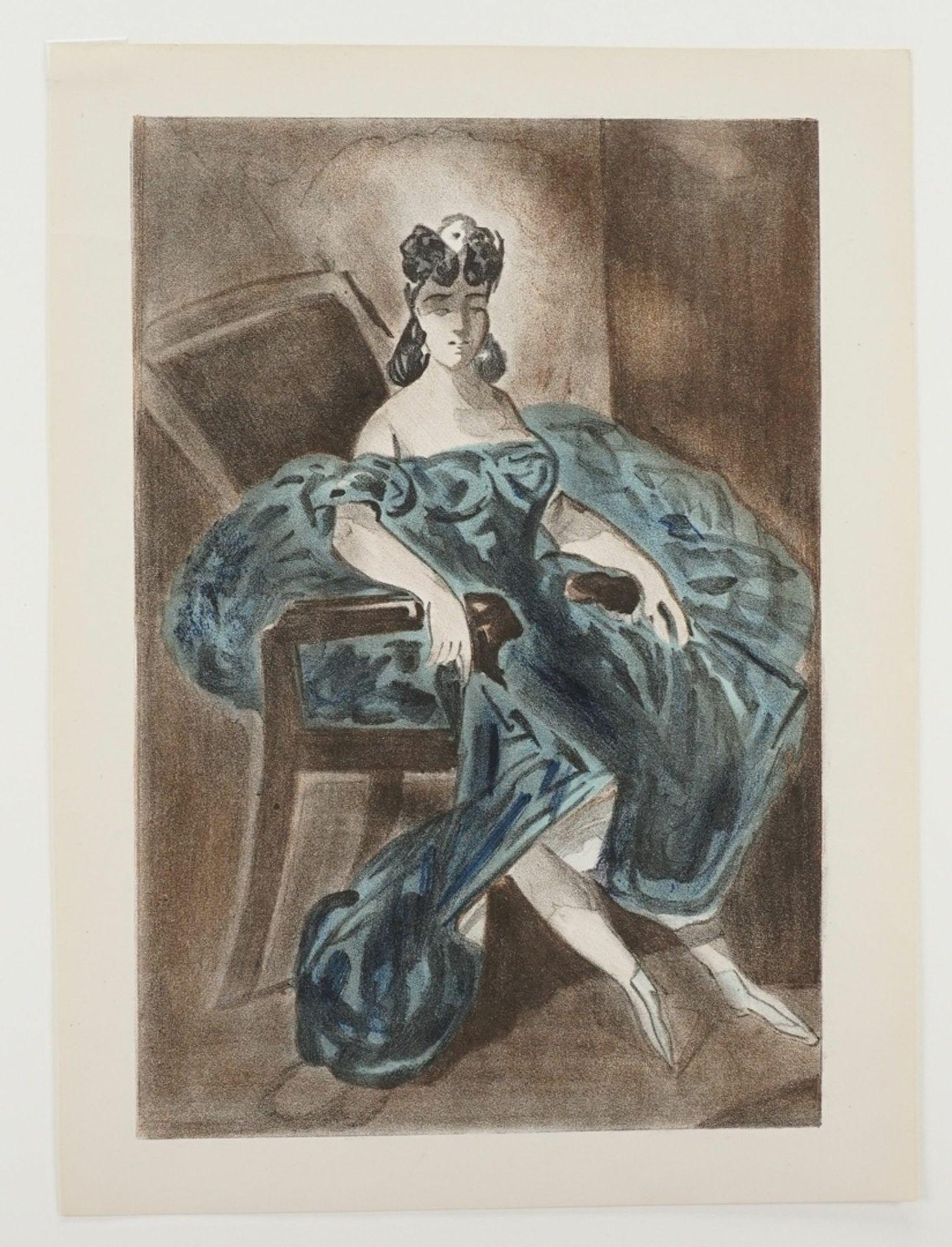 Constantin Guys, Sitzende Dame in türkisblauem Kleid - Bild 3 aus 4