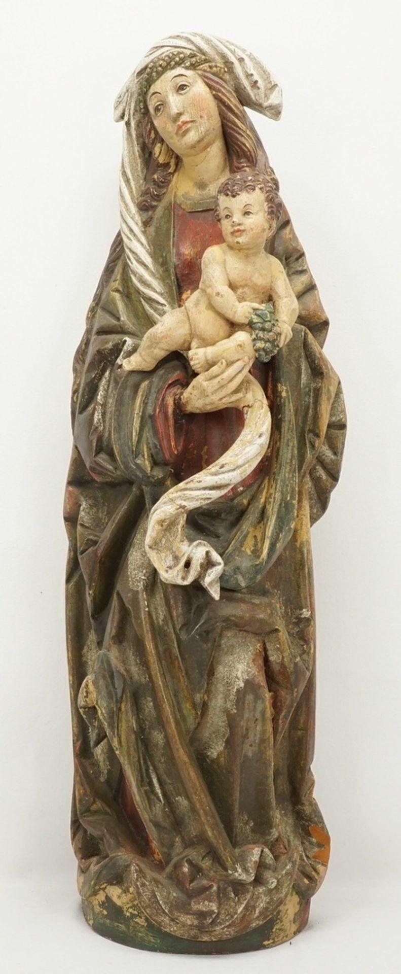 Gotische Mondsichel-Madonna mit Jesuskind, um 1880