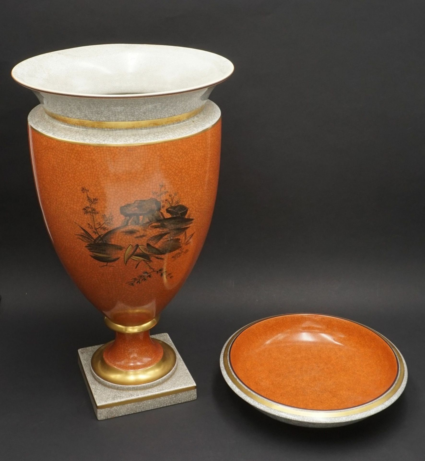 Royal Copenhagen große Krakelee Vase mit Schale, um 1950 - Bild 2 aus 8