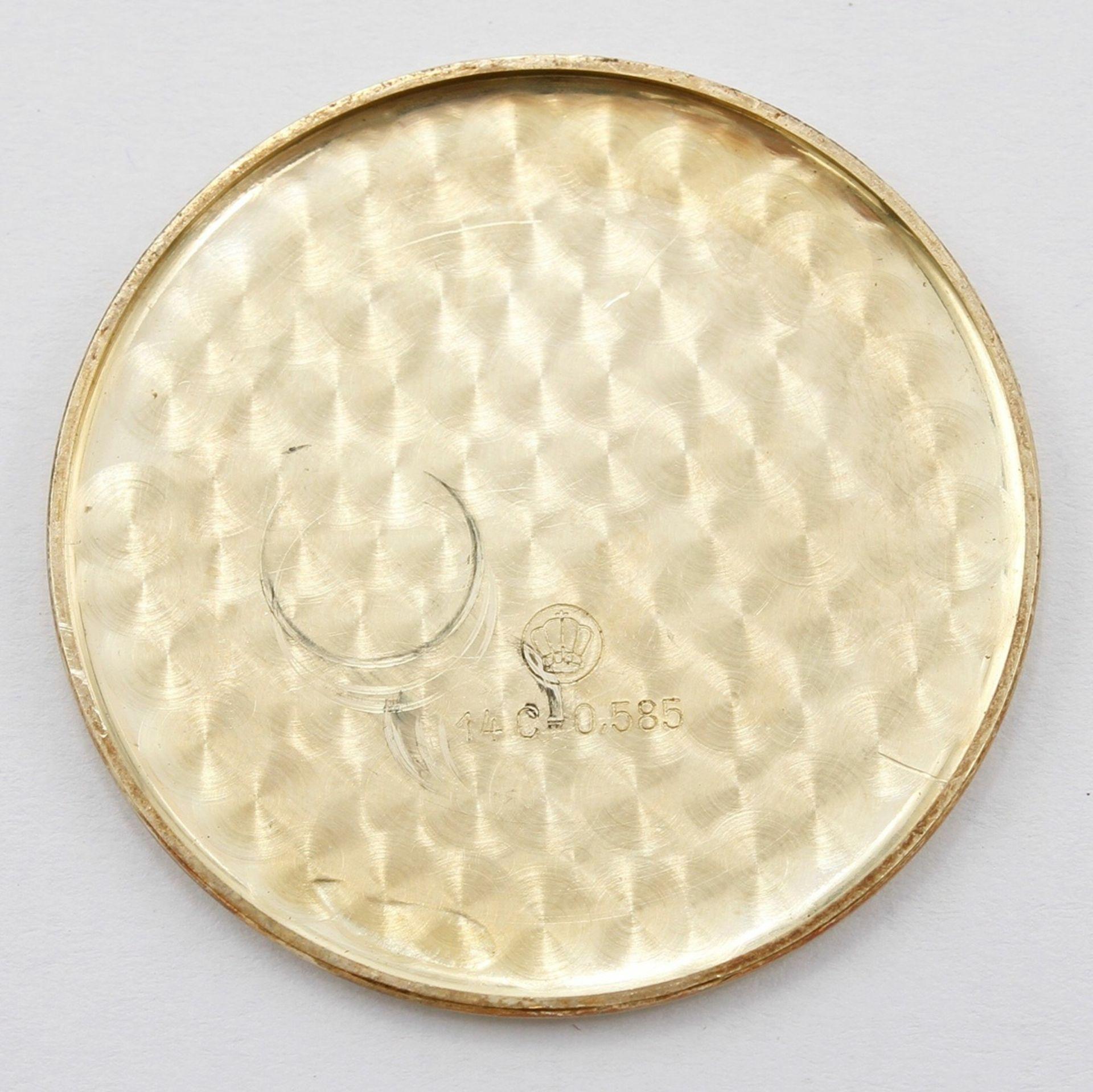 Kleine goldene Anhängeruhr / Damentaschenuhr, 2. Hälfte 20. Jh. - Bild 5 aus 5