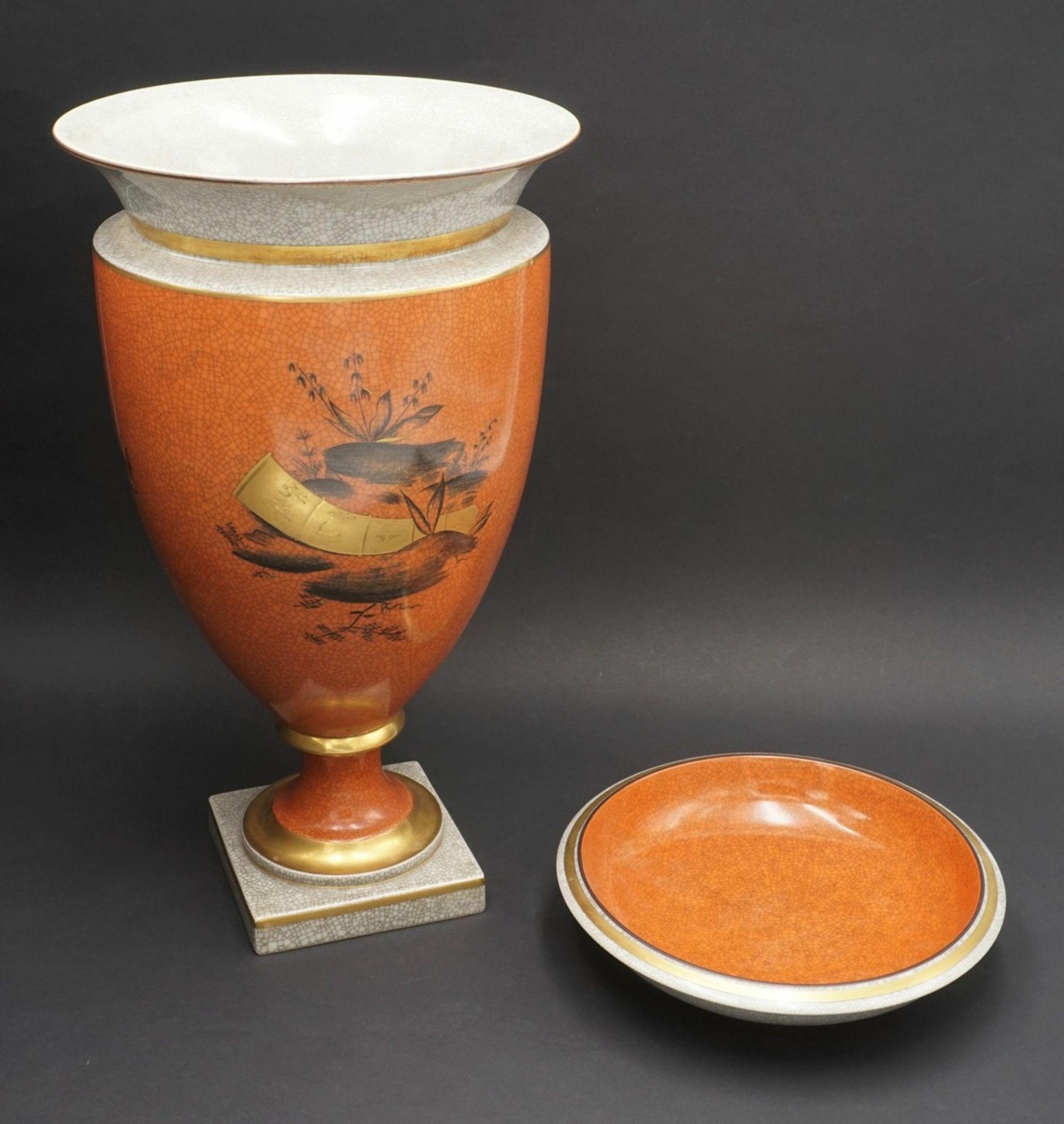 Royal Copenhagen große Krakelee Vase mit Schale, um 1950