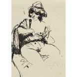 Robert Pudlich, Sitzender weiblicher Akt mit Hut