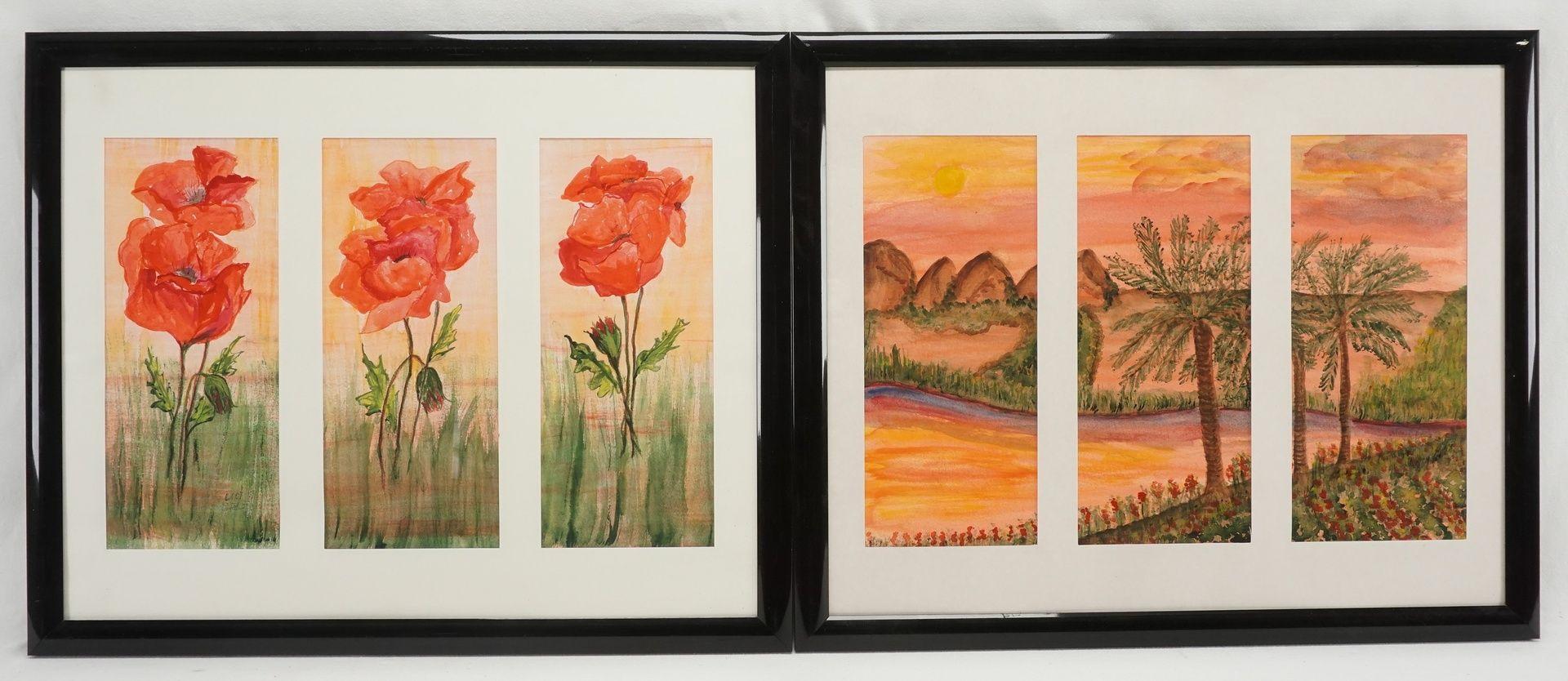 Ingetraut Fahnert, zwei Triptychon Aquarelle
