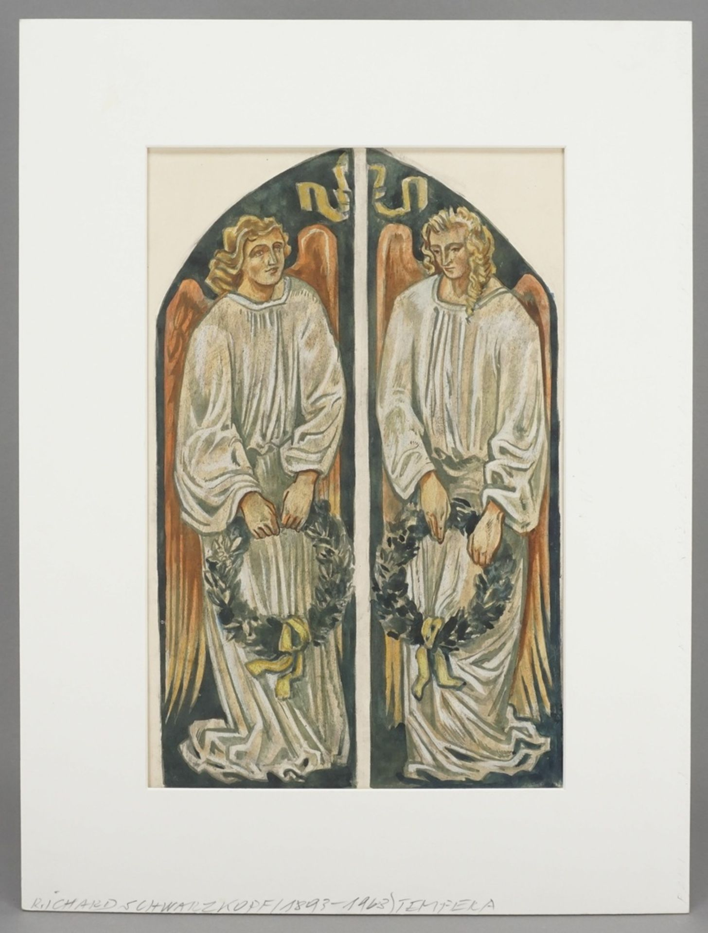 Richard Schwarzkopf, Zwei Engel mit Lorbeerkränzen - Bild 2 aus 4