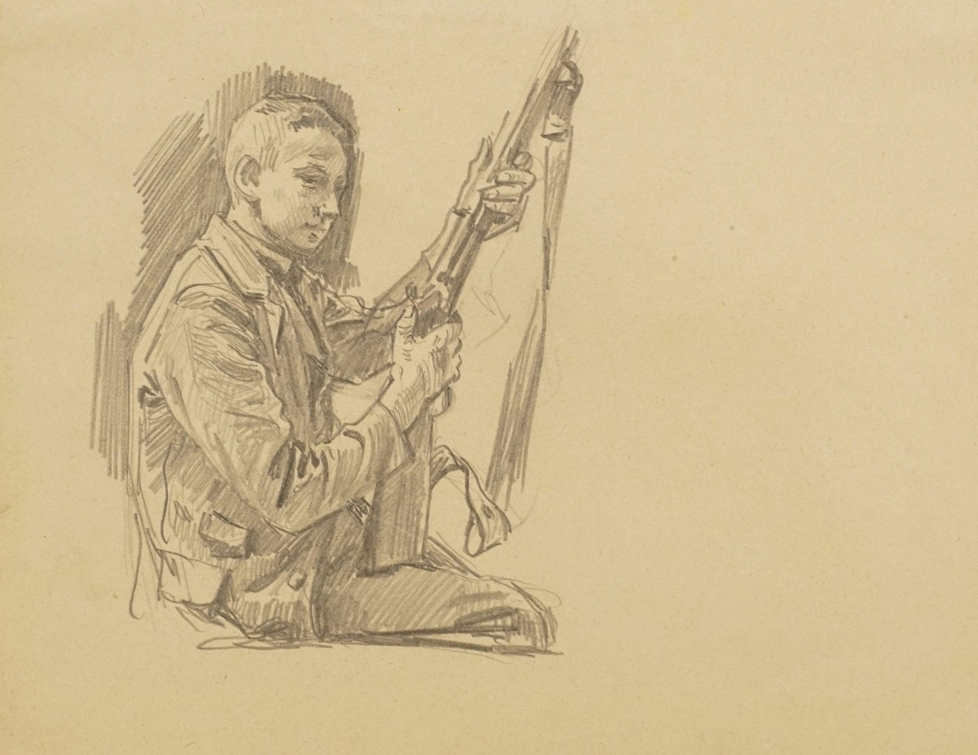 Unbekannter Zeichner, Sitzender Junge mit Gewehr