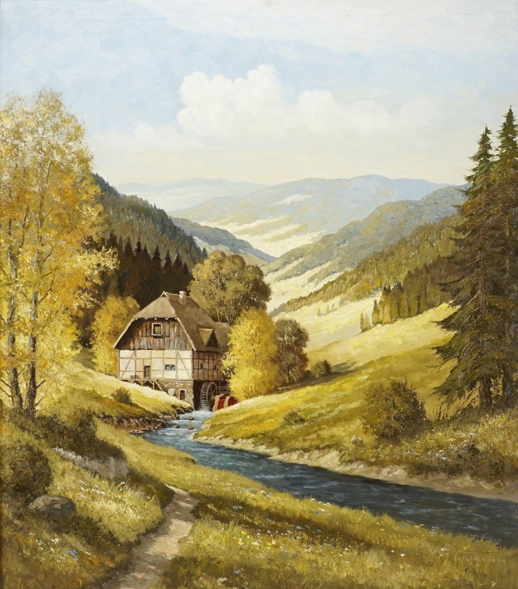 Georg Wegener, Wassermühle in Mittelgebirgslandschaft (wohl Harz)
