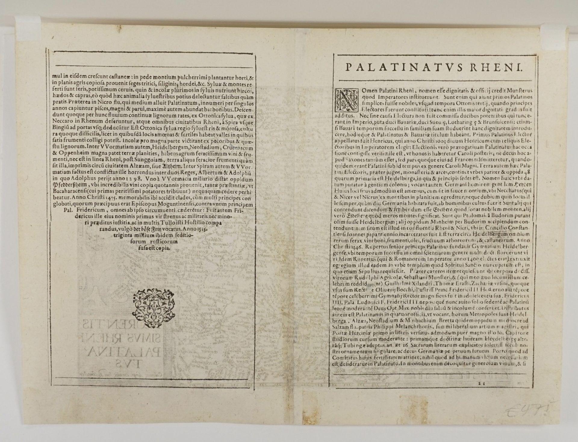 """Mat(t)hias Quad, """"Florentissimus Rheni Palatinatus"""" (Landkarte von Rheinpfalz, Odenwald und ... - Bild 4 aus 4"""