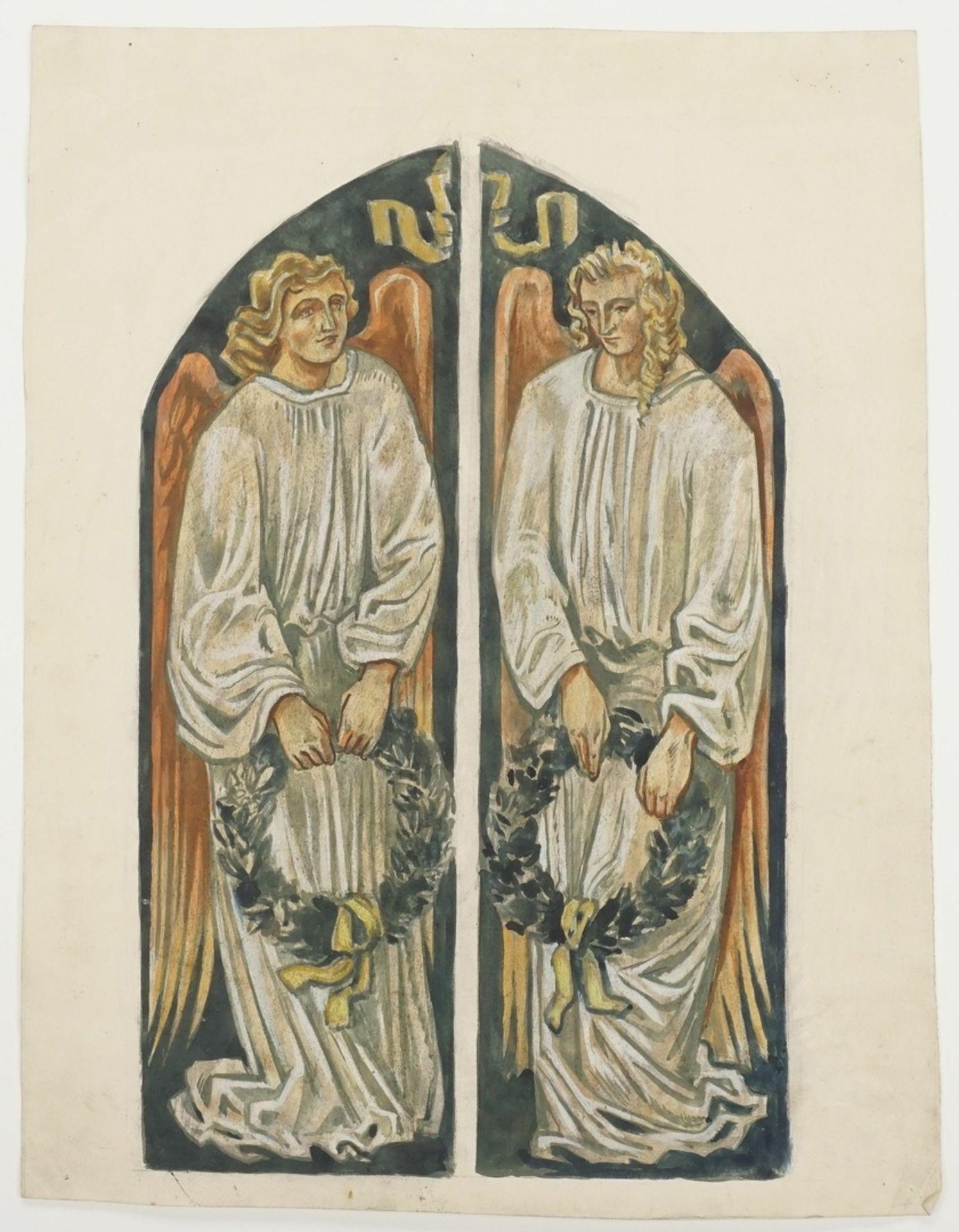 Richard Schwarzkopf, Zwei Engel mit Lorbeerkränzen - Bild 3 aus 4