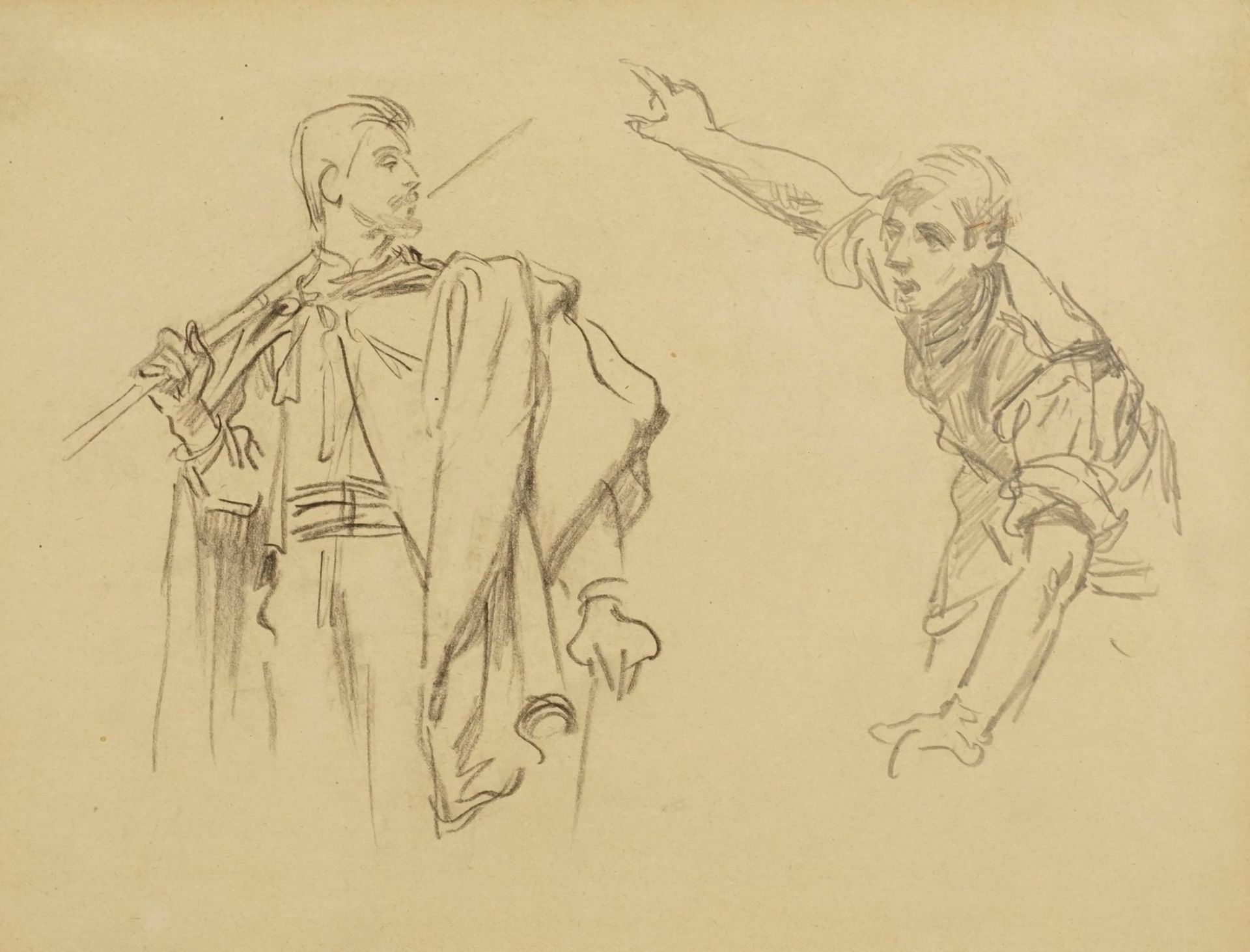Unbekannter Zeichner, Zwei männliche Figurenstudien