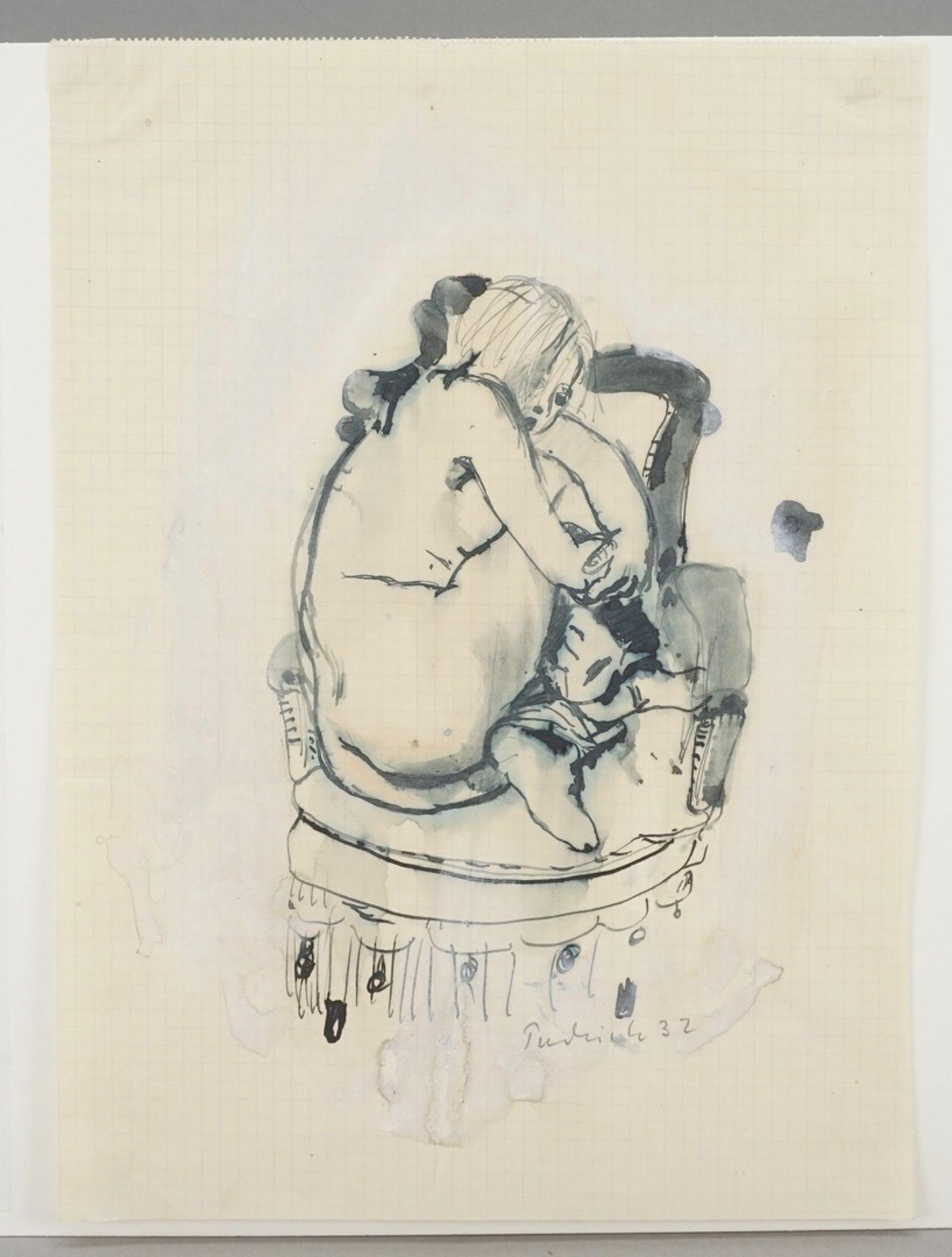 Robert Pudlich, Kauernder Frauenakt auf einem Fauteuil - Bild 3 aus 4