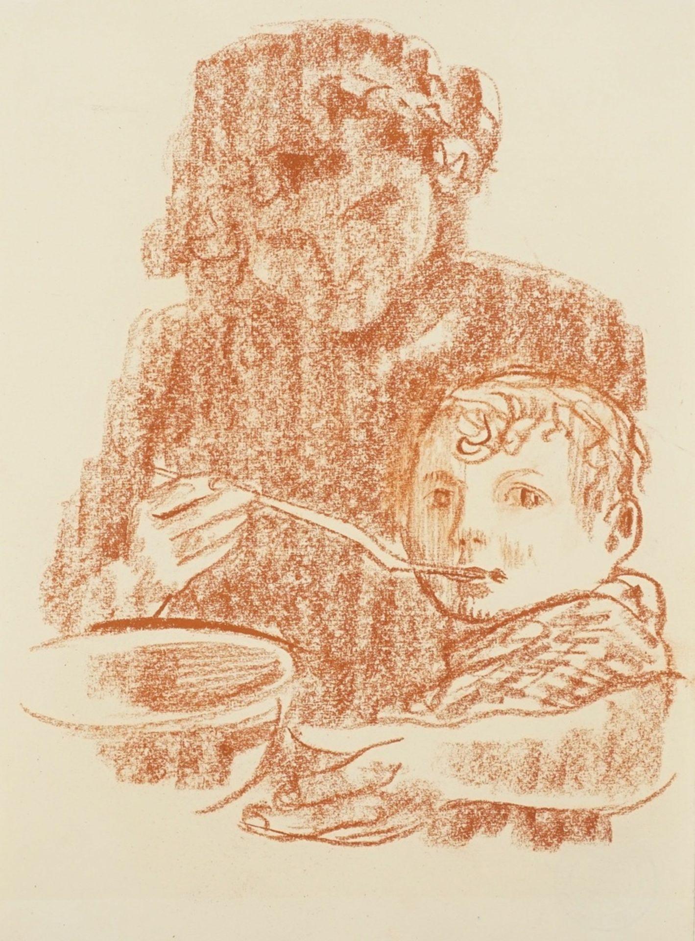 Richard Schwarzkopf, Mutter und Kind beim Essen