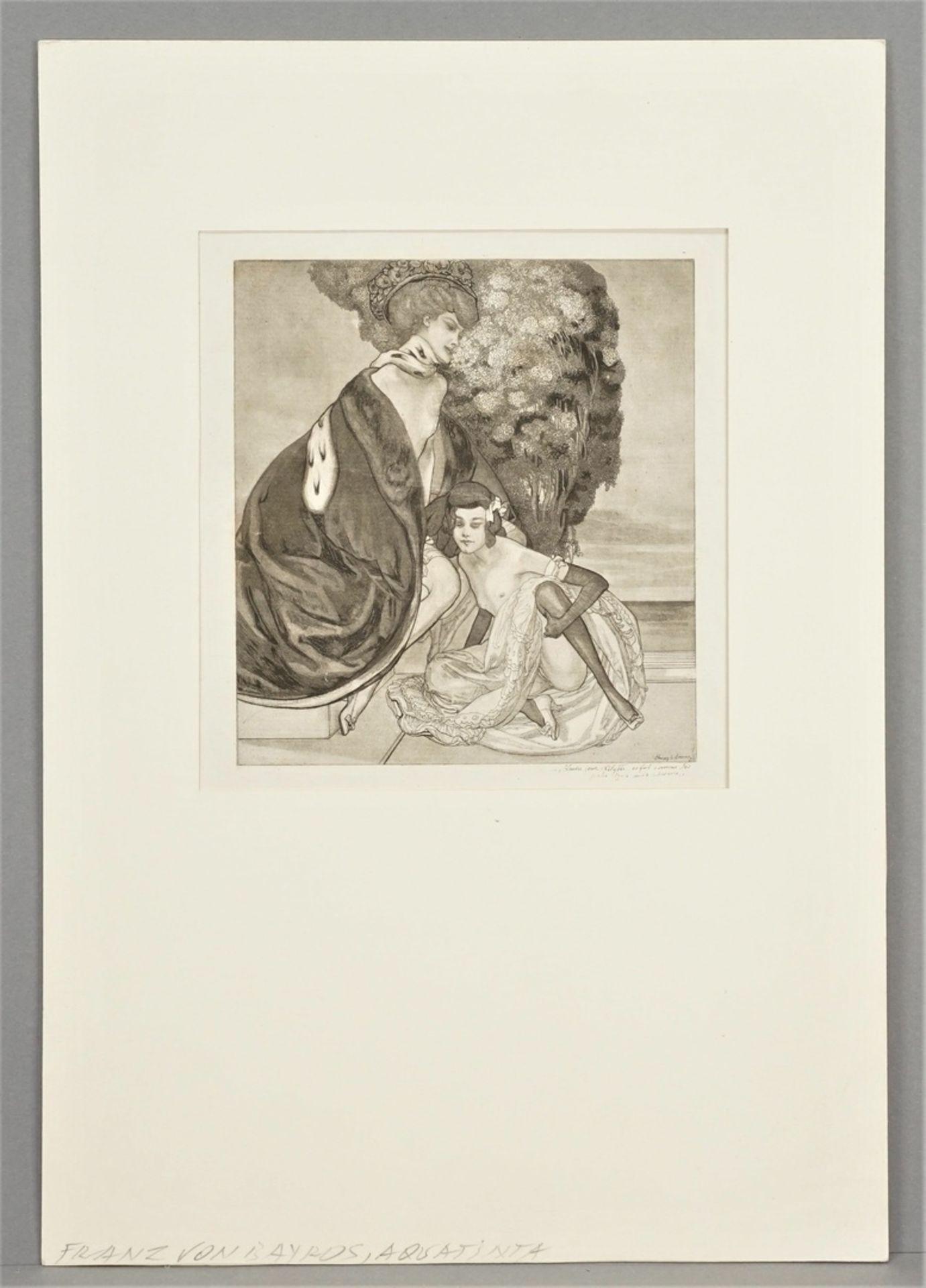 """Franz von Bayros, """" L'autre jour, Lilytte, ce fut comme des perles dans mes cheveux"""" (Eines ... - Bild 2 aus 3"""