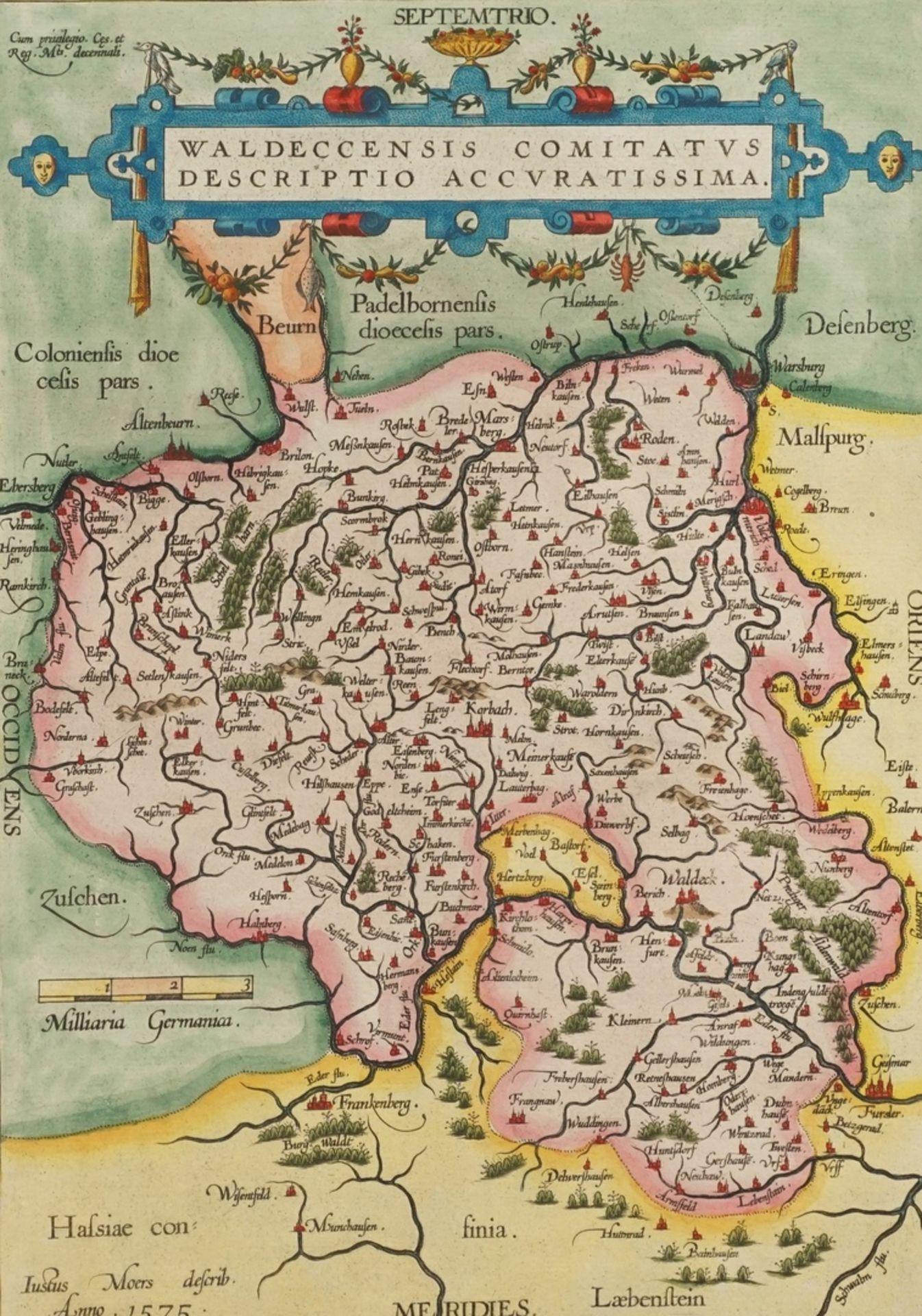 """Abraham Ortelius, """"Waldeccensis Comitatus Descriptio Accuratissima"""" (Landkarte des Fürstentums ..."""