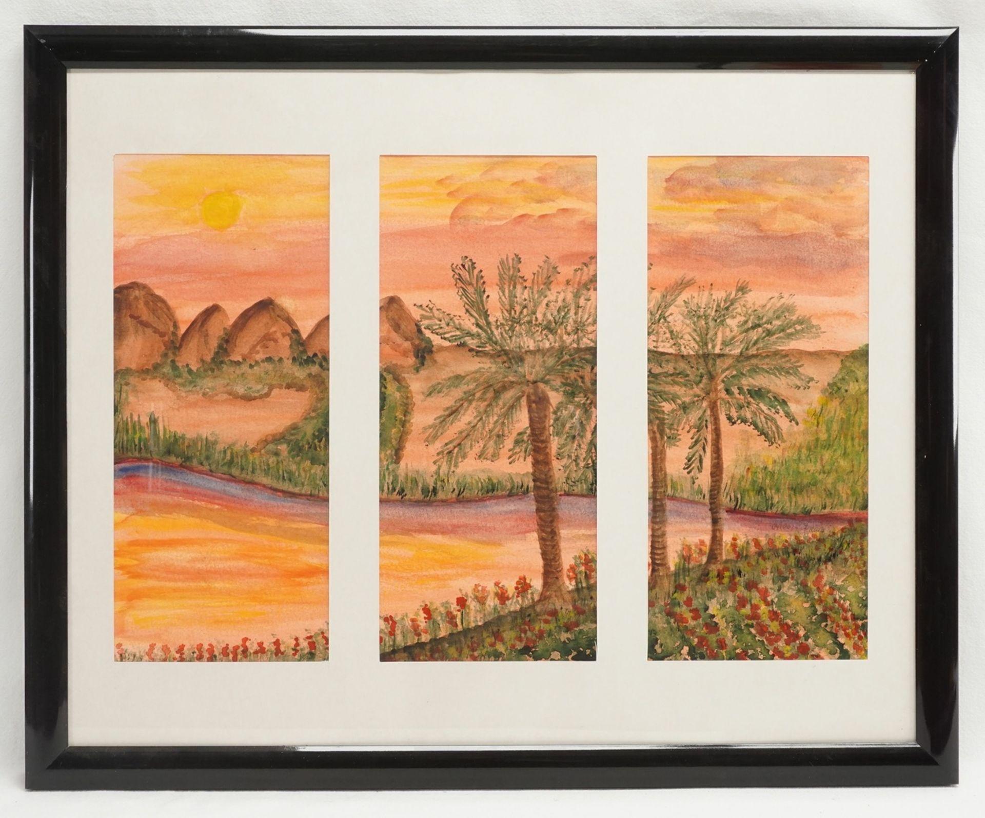 Ingetraut Fahnert, zwei Triptychon Aquarelle - Bild 3 aus 4