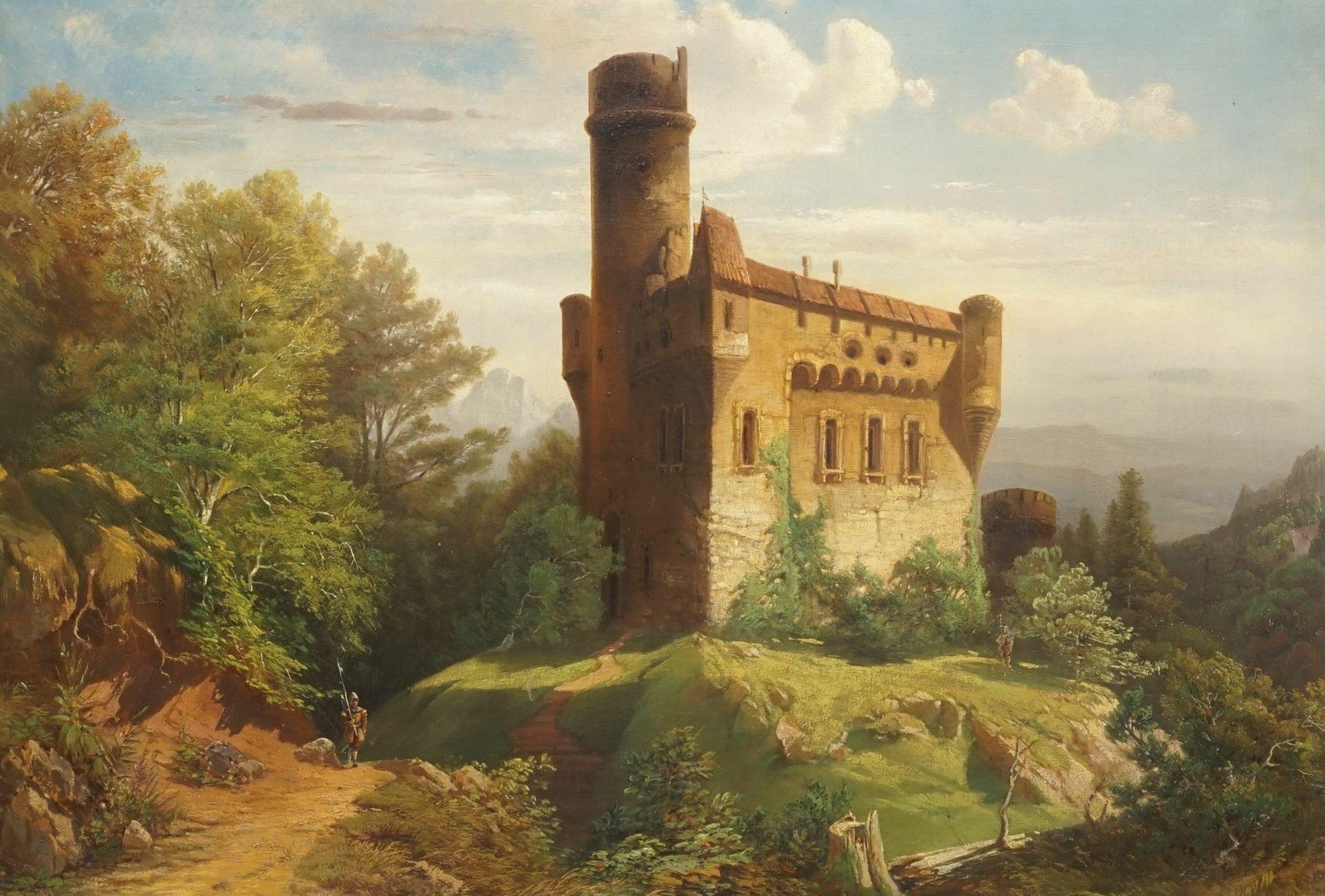 """Wohl Adolf Stademann, """"Historisierende Burg mit ruinösem Rundturm und Wachen"""" - Bild 2 aus 3"""