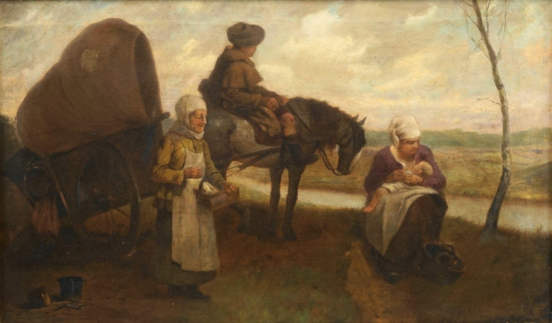 Unbekannter Maler, Rast auf der Reise mit dem Planwagen