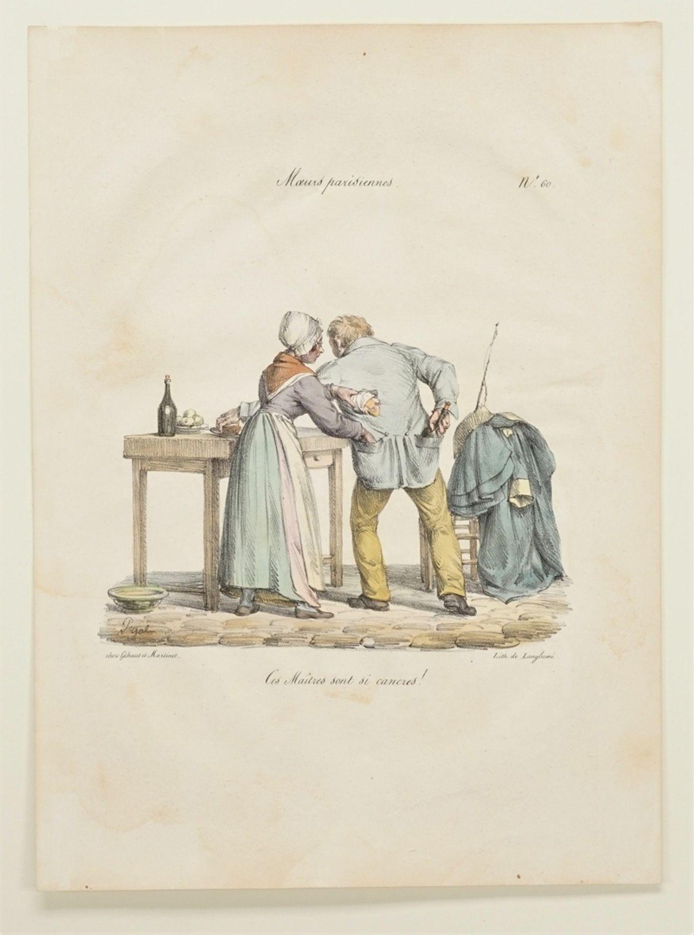 """Edme Jean Pigal, Drei Blatt aus """"Moeurs parisiennes"""" (Pariser Sitten) - Bild 2 aus 4"""