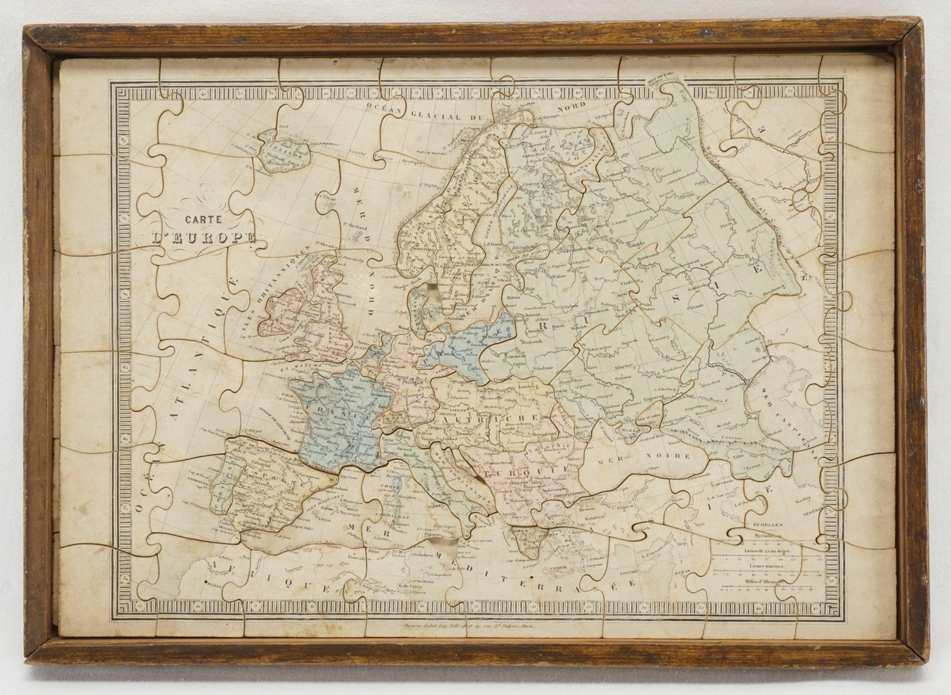 Puzzle Welt und Europa, um 1880 - Bild 2 aus 3