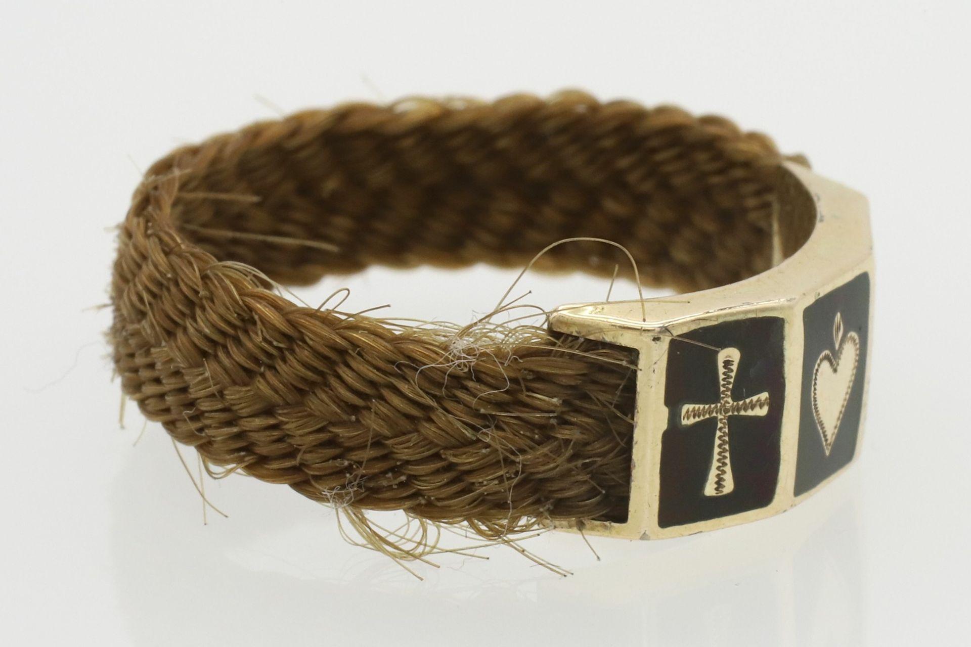 Biedermeier Haarring mit Glaube, Liebe, Hoffnung Symbolik - Bild 3 aus 5