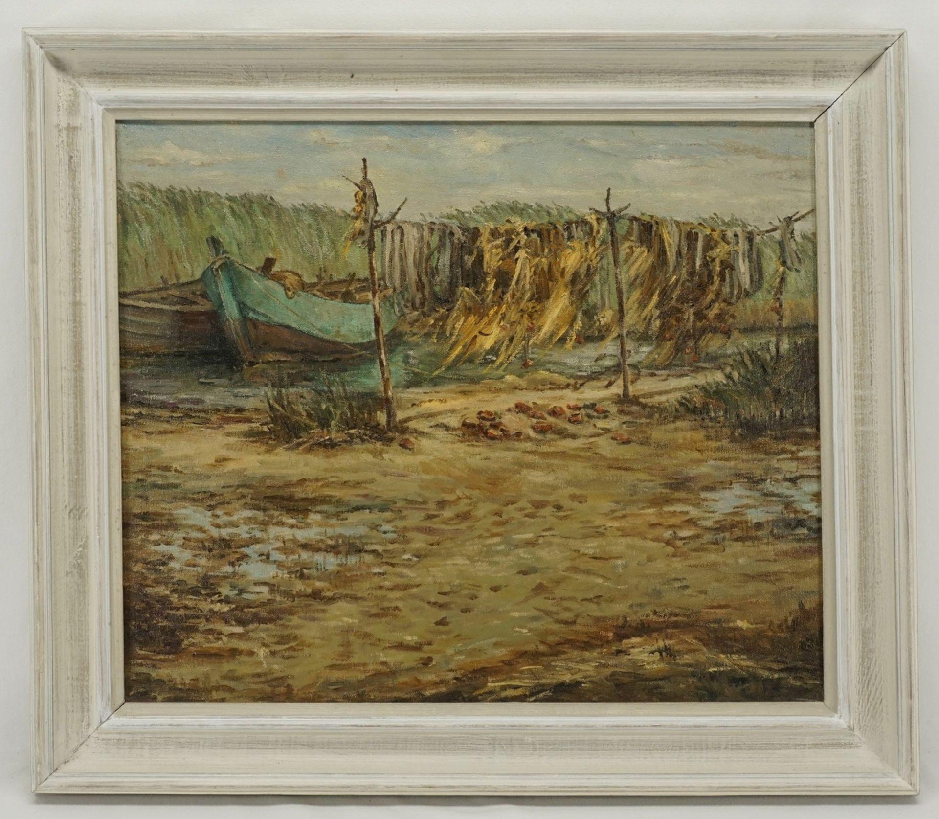 Unbekannter Küstenmaler, Boddenszene mit Fischerbooten und Netzreihen - Bild 2 aus 3