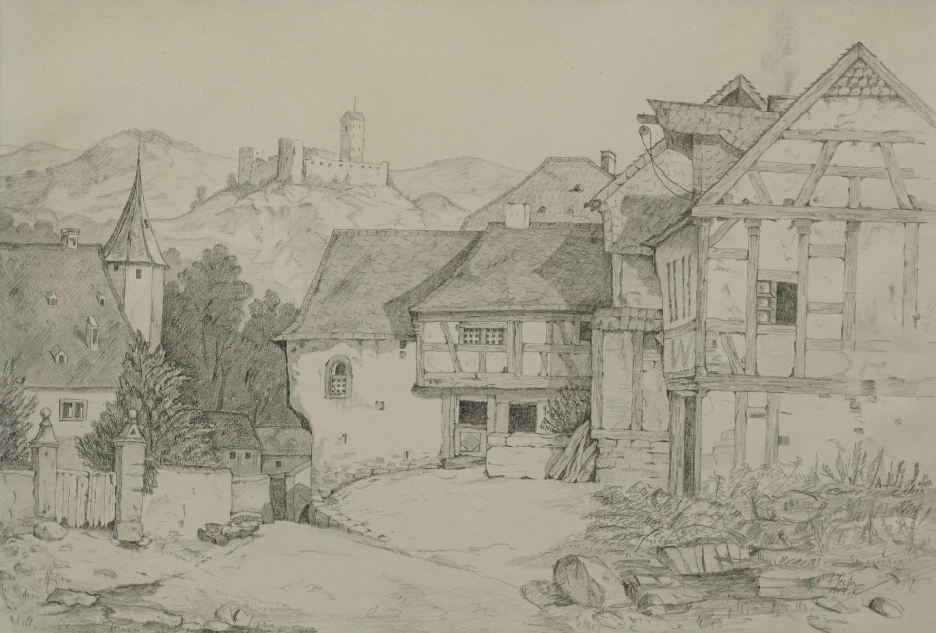 C. Hector, Dorfszene mit Burg