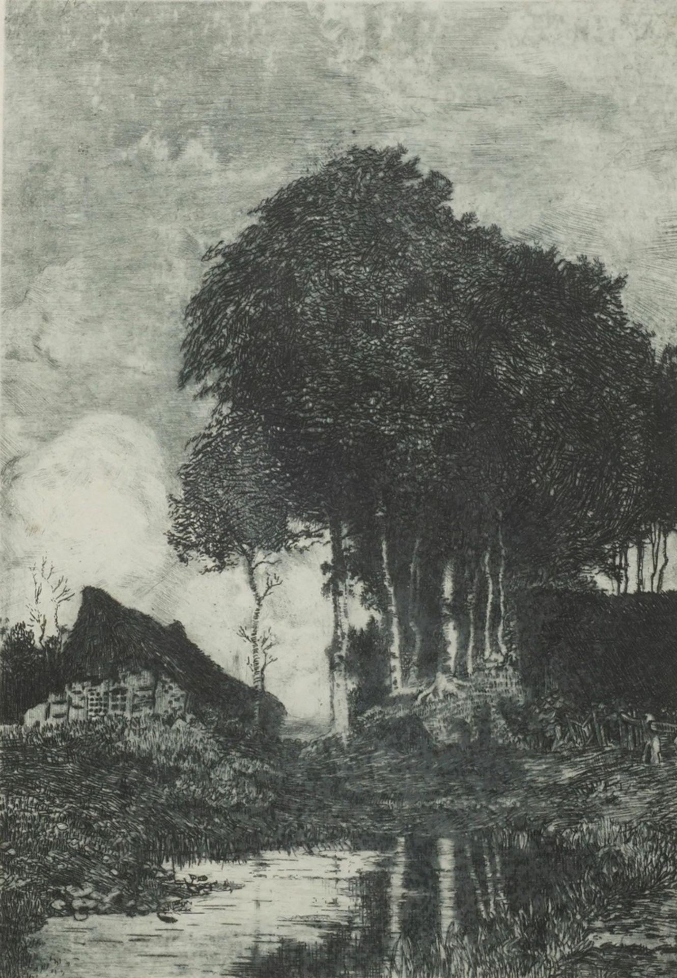 Hans am Ende, Bauernkate mit Birken im Moor