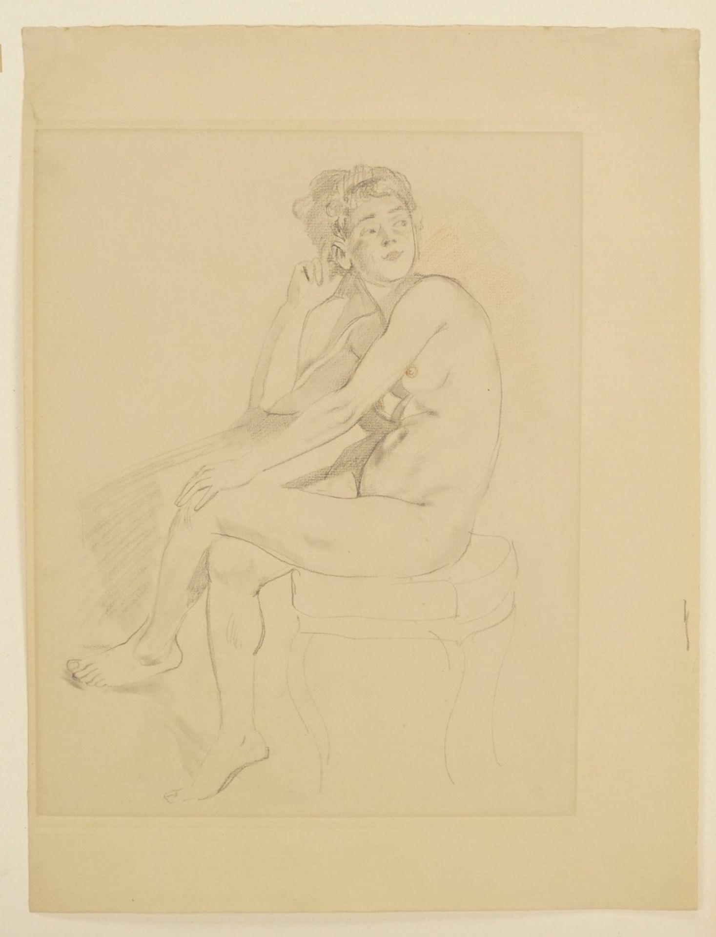 Alexander Frenz, Sitzender weiblicher Akt, die Beine übereinander geschlagen - Bild 3 aus 3