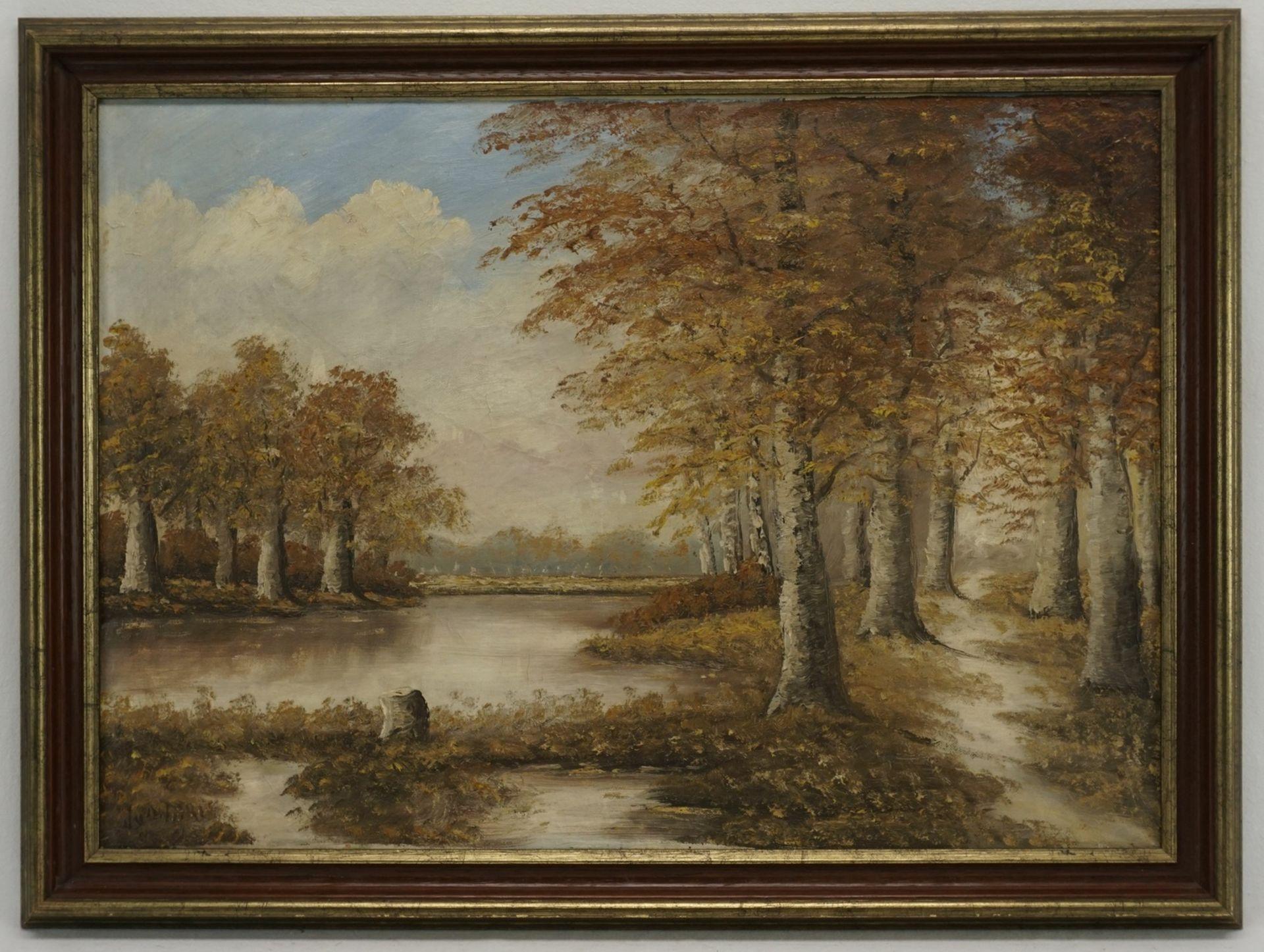 Unbekannter Künstler, Herbstliche Flusslandschaft - Bild 2 aus 4
